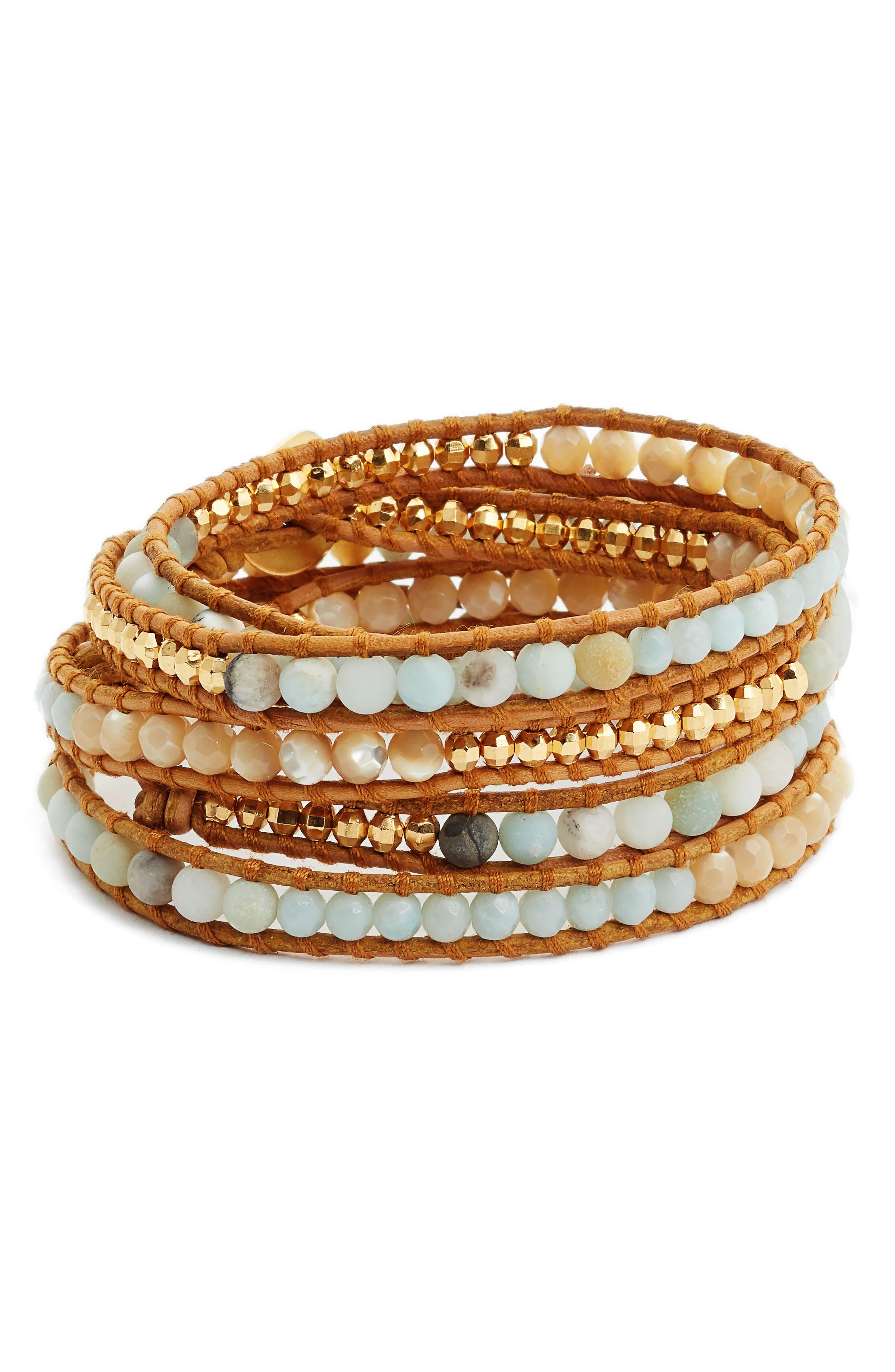 Mixed Semiprecious Stone Wrap Bracelet,                             Main thumbnail 1, color,                             431