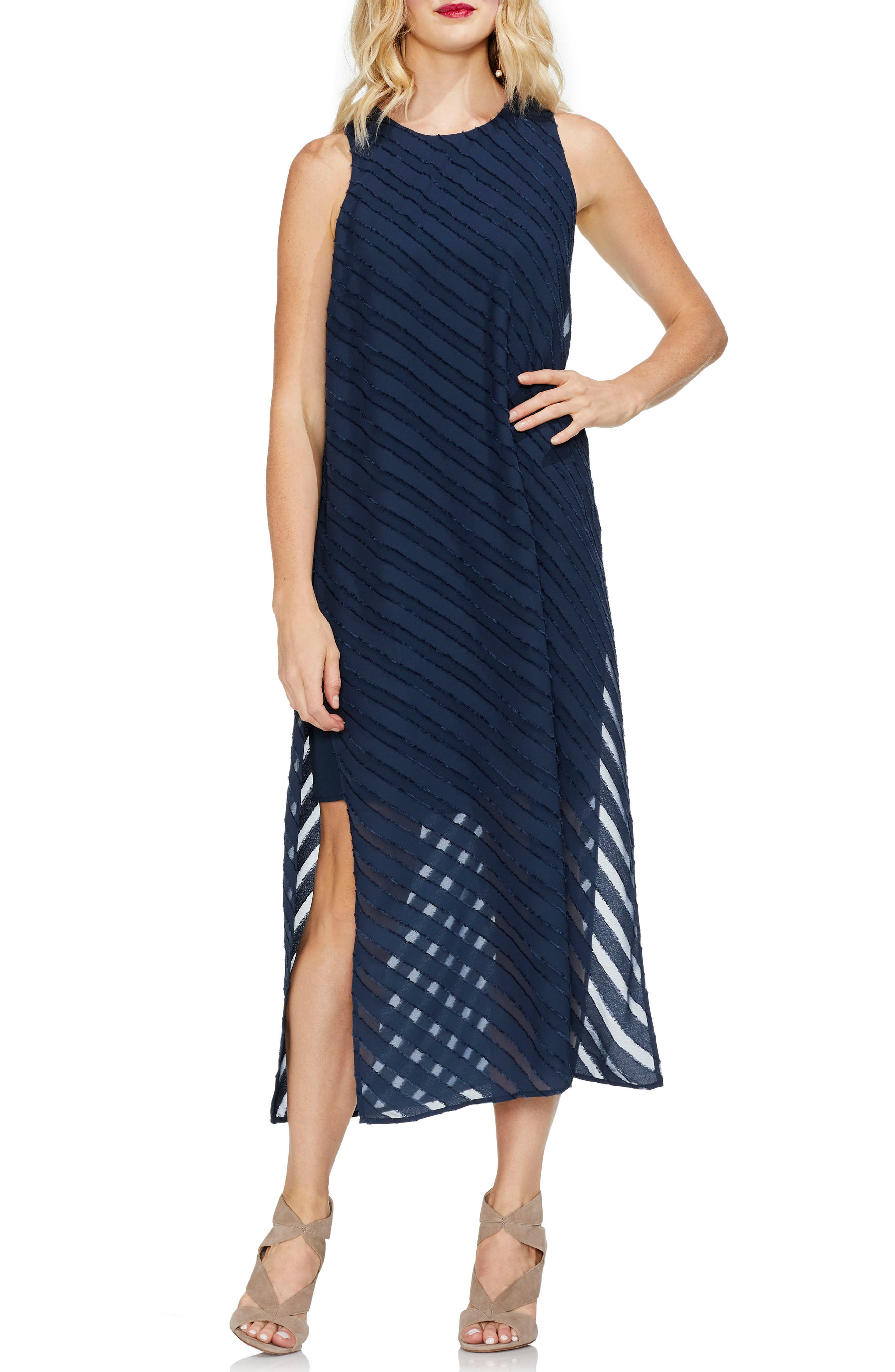 Vince Camuto Diagonal Stripe Chiffon Maxi Dress, Blue