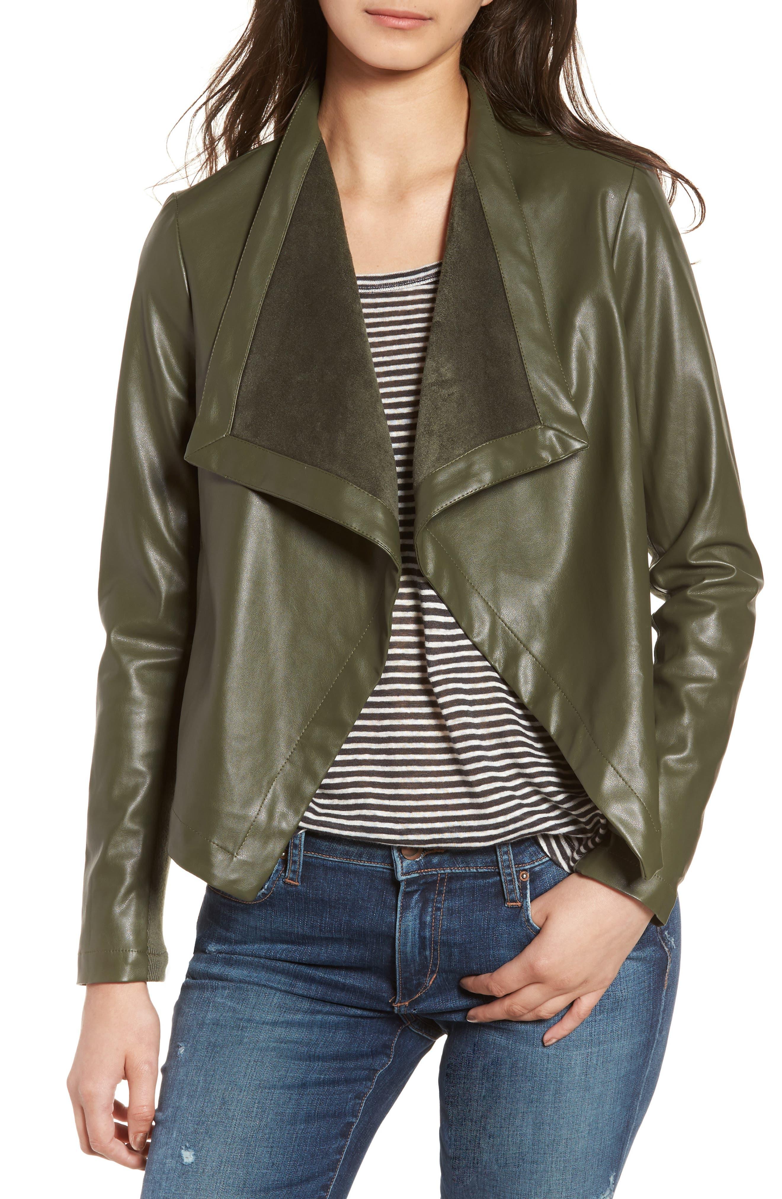'Peppin' Drape Front Faux Leather Jacket,                             Main thumbnail 7, color,