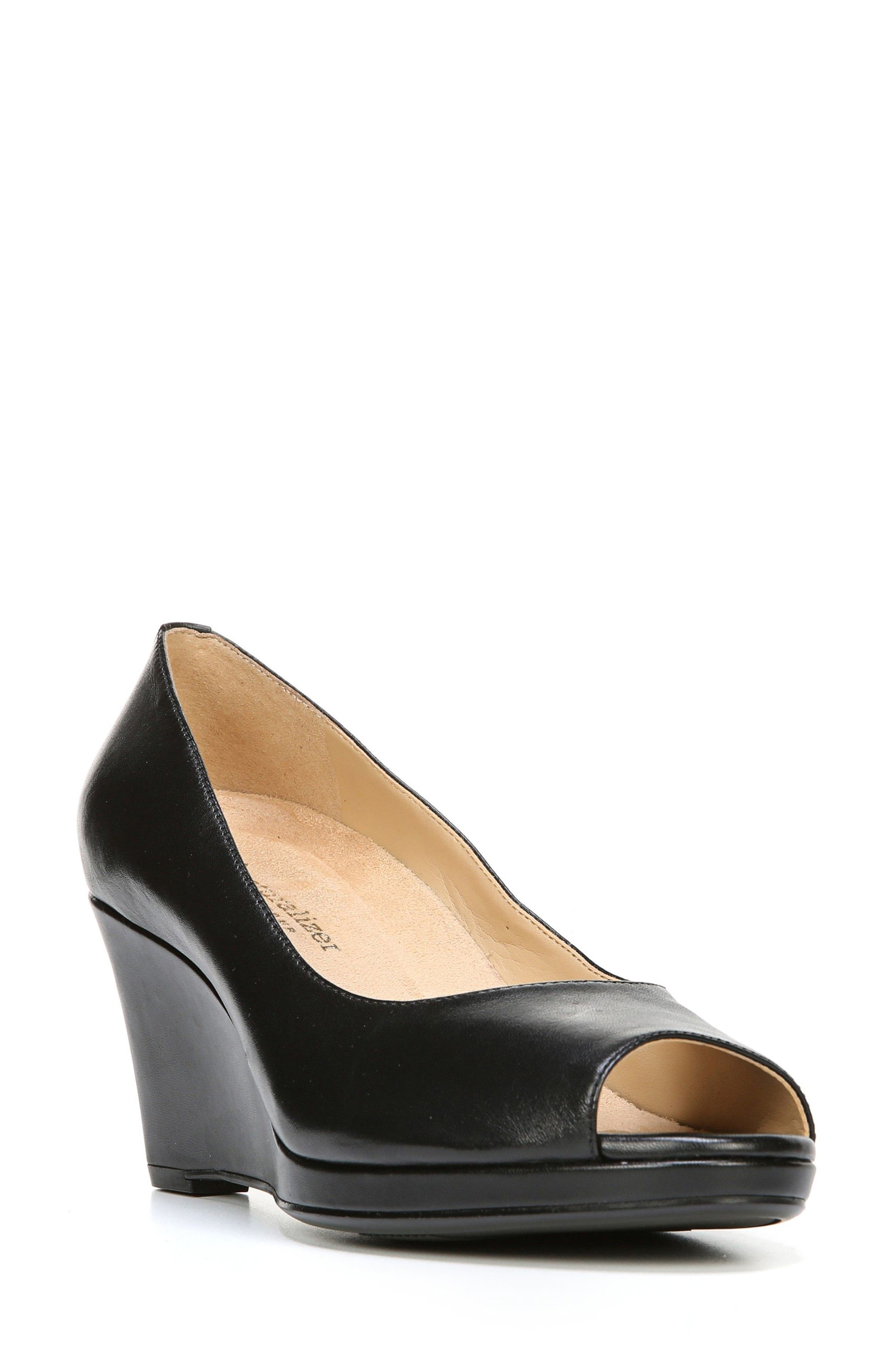 Olivia Peep Toe Wedge,                             Main thumbnail 1, color,                             BLACK LEATHER