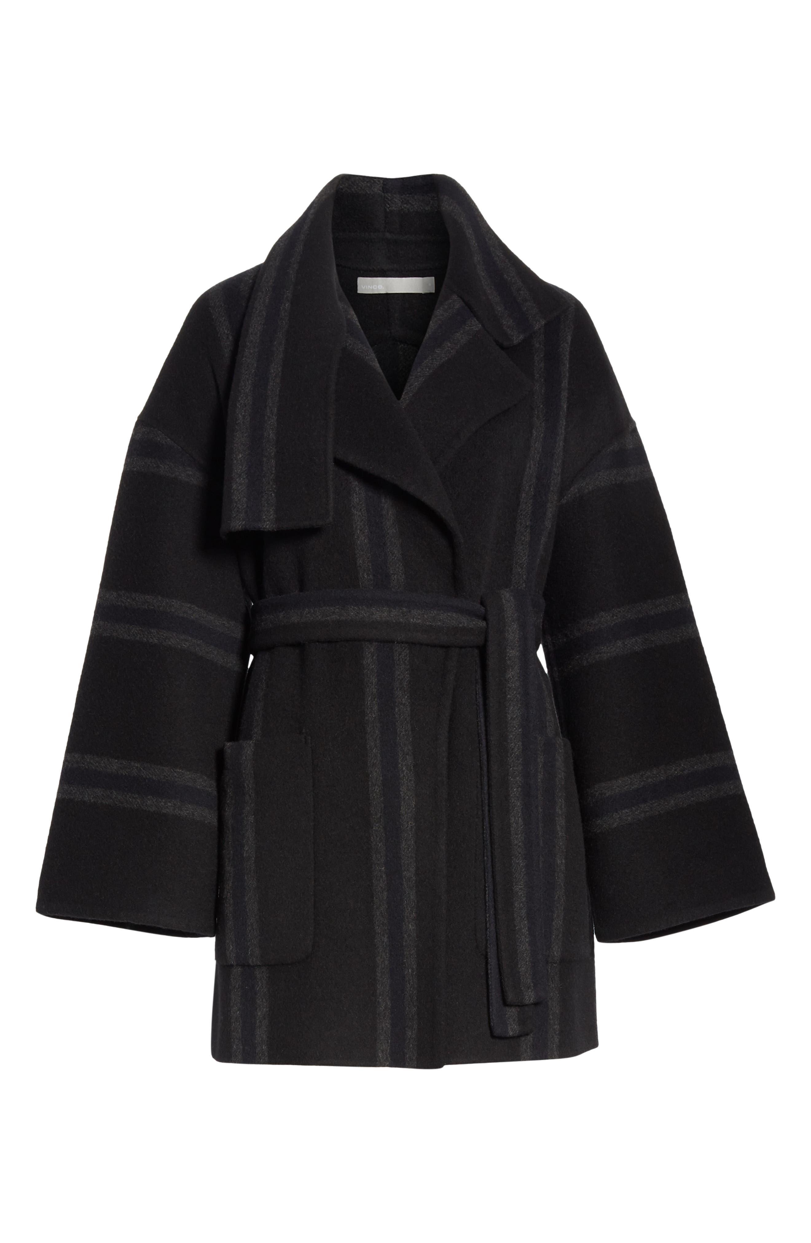 Stripe Blanket Coat,                             Alternate thumbnail 6, color,                             ONYX