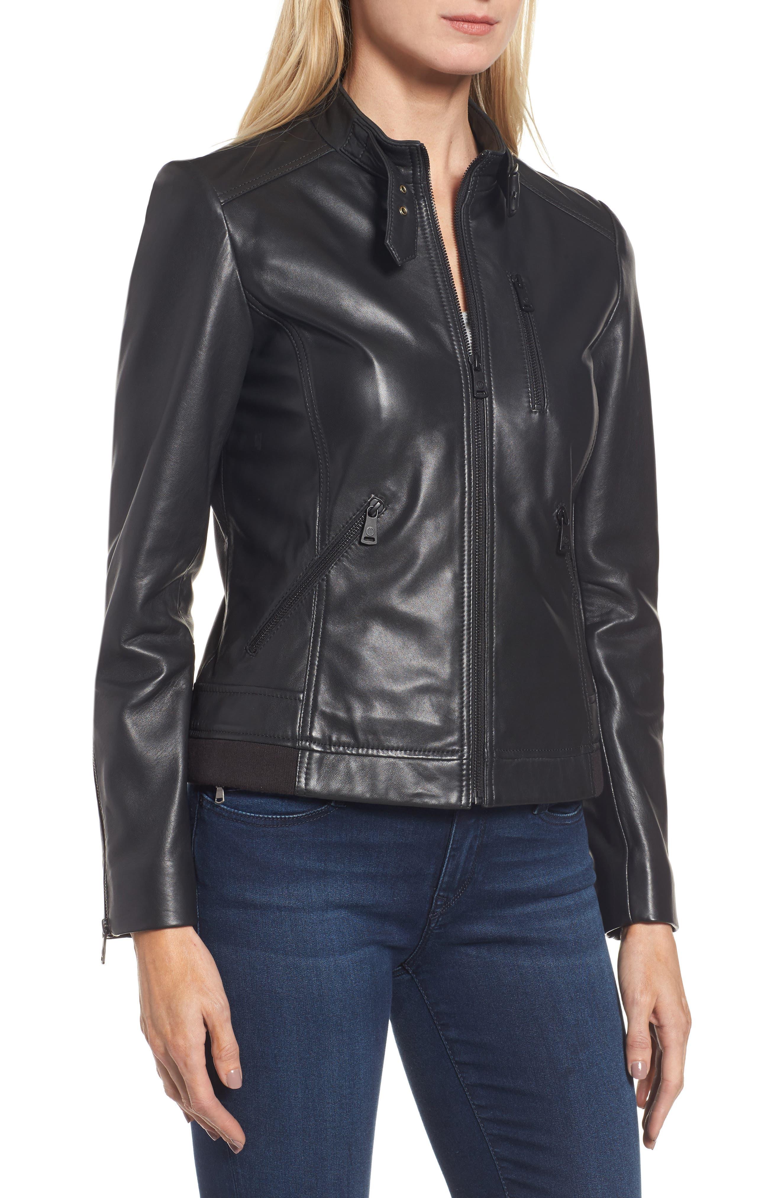 Jetta Knit Detail Leather Scuba Jacket,                             Alternate thumbnail 4, color,                             001