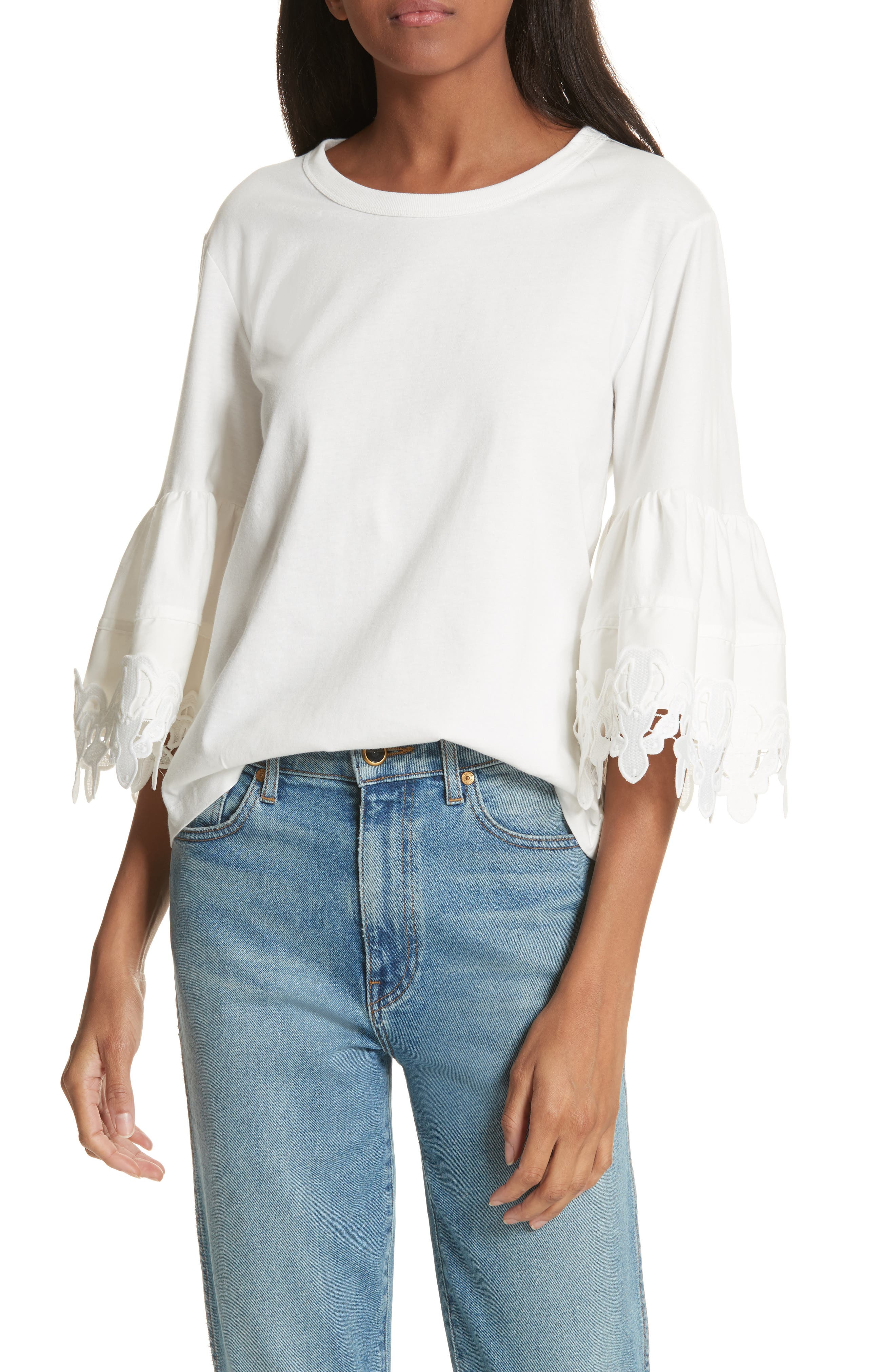 Lace Trim Bell Sleeve Top,                             Main thumbnail 2, color,
