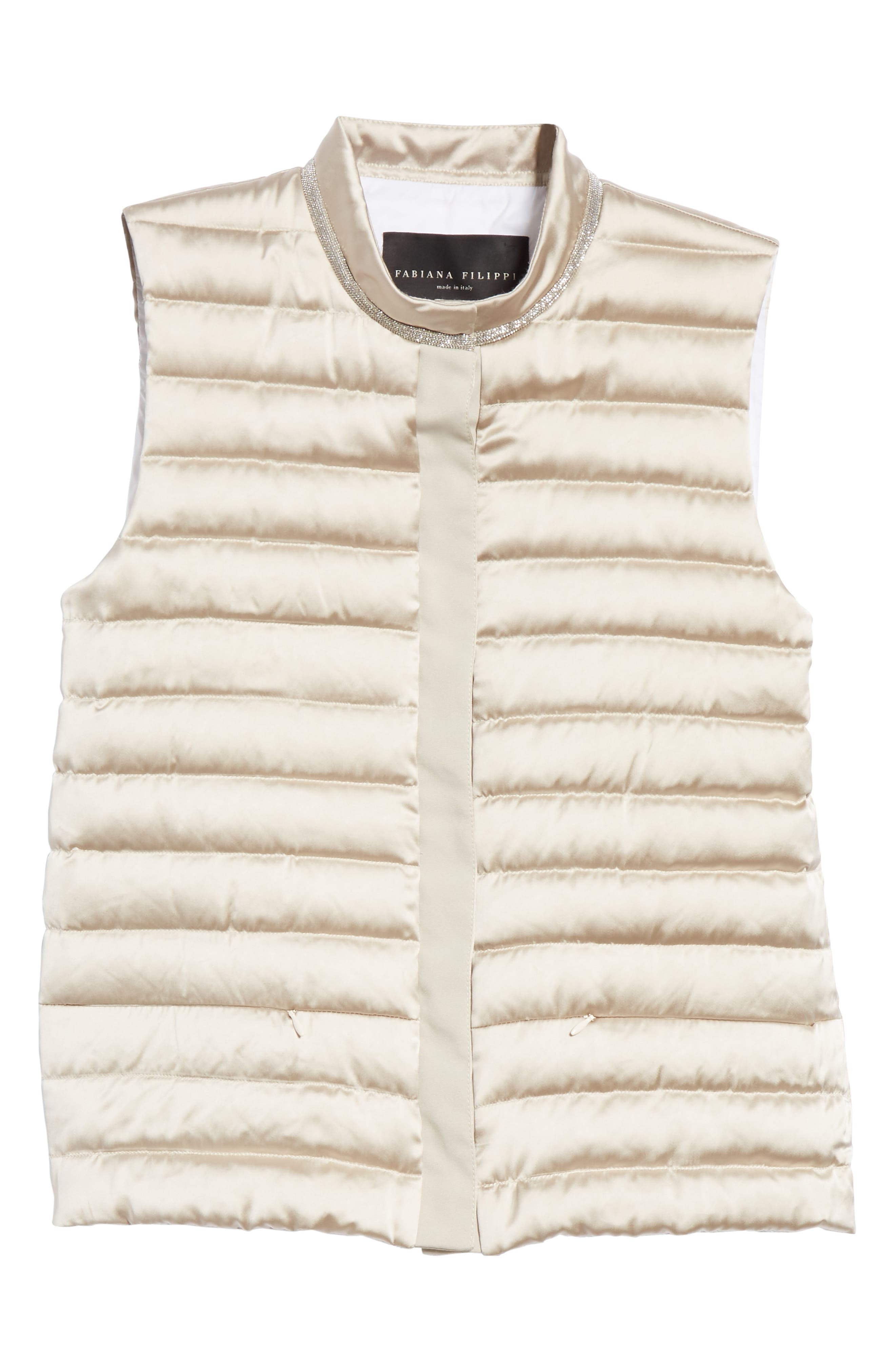 Quilted Satin Vest Front,                             Alternate thumbnail 6, color,                             CHAMPAGNE