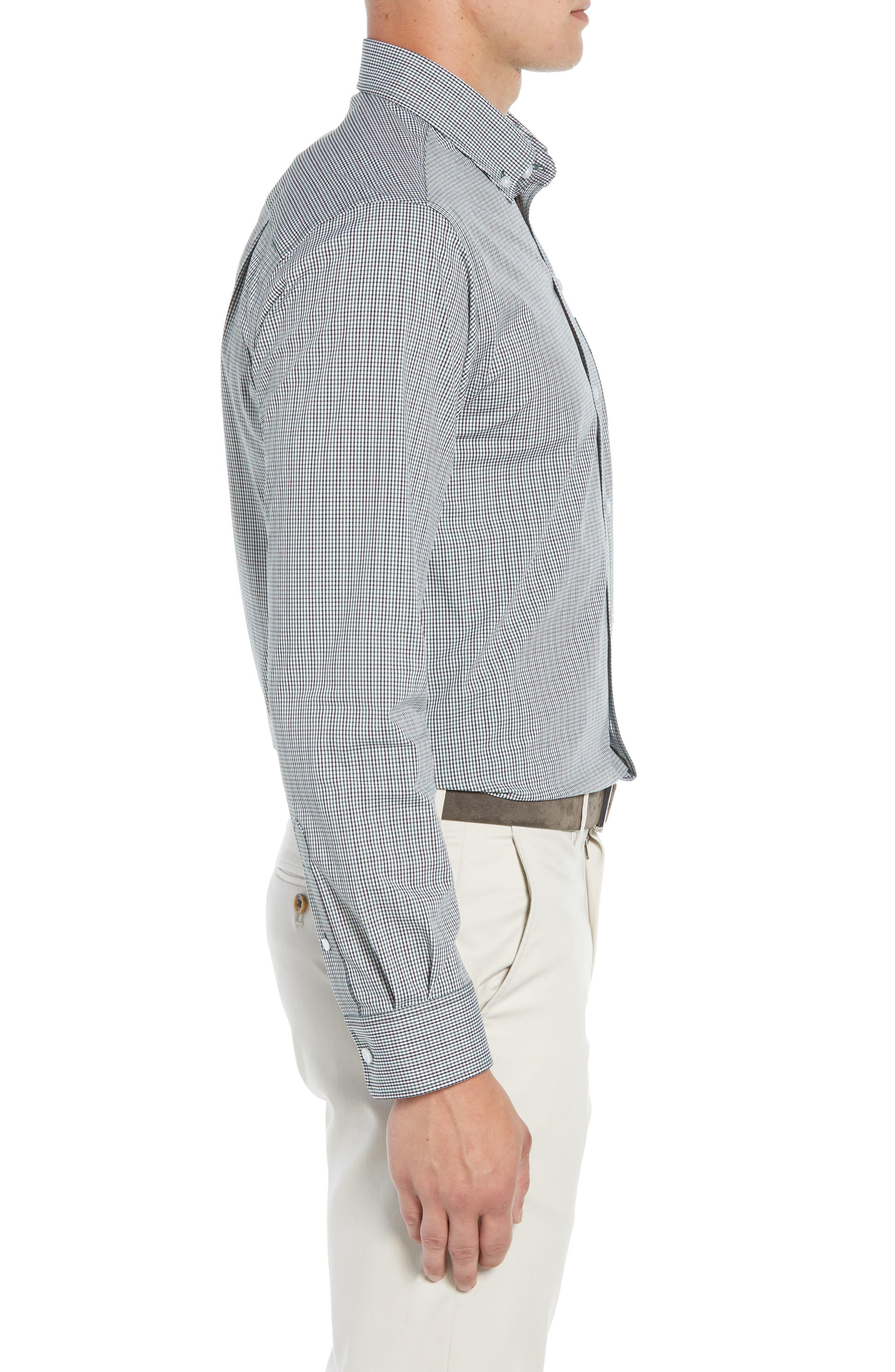Casey Regular Fit Check Sport Shirt,                             Alternate thumbnail 4, color,                             HUNTER