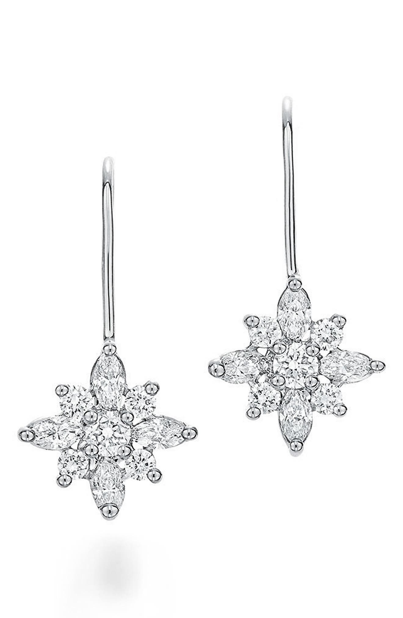 .90ct tw Diamond Star Earrings,                             Alternate thumbnail 2, color,                             WHITE GOLD
