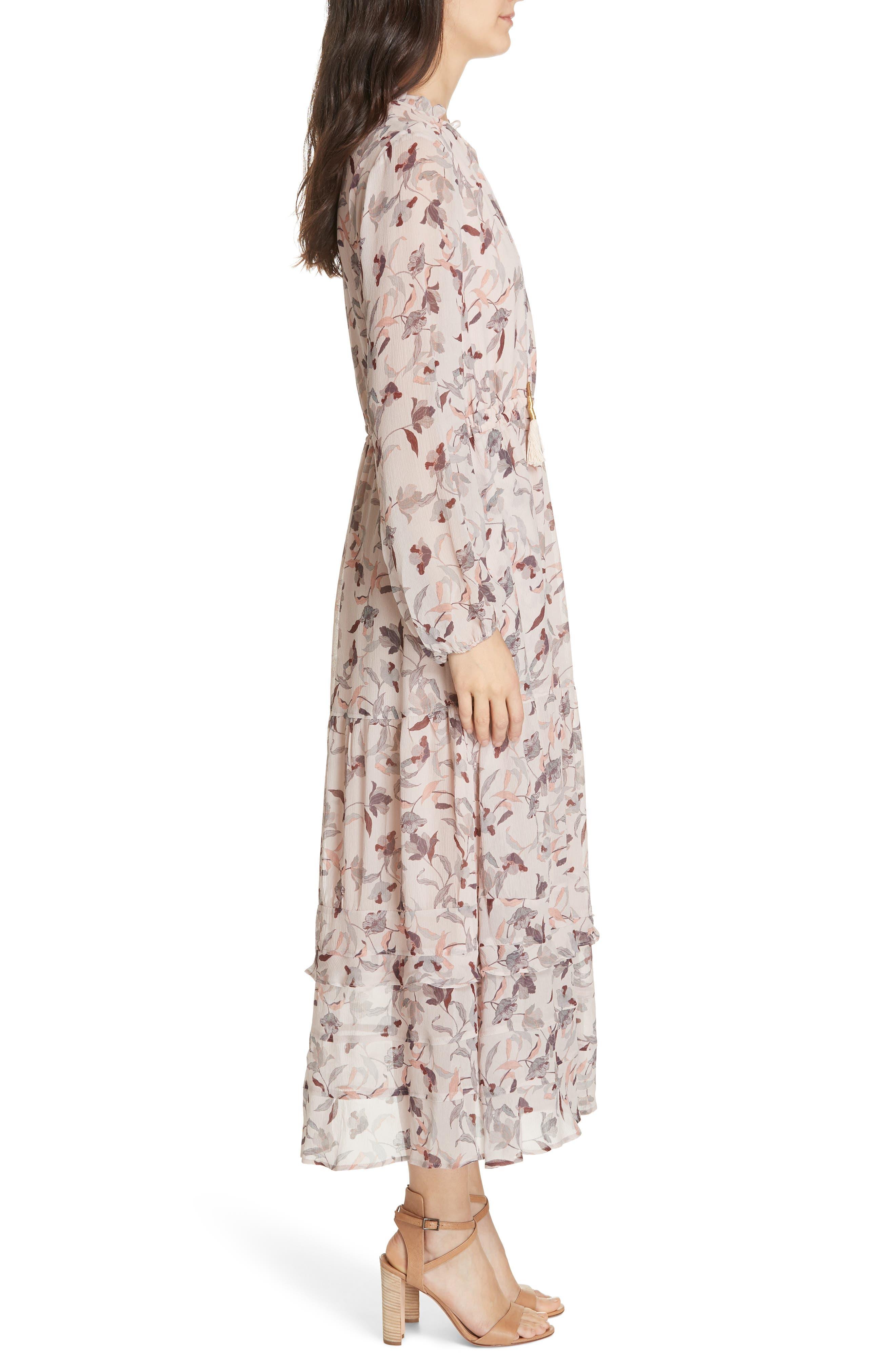 Frances Floral Silk Maxi Dress,                             Alternate thumbnail 3, color,                             FEATHER POPPY