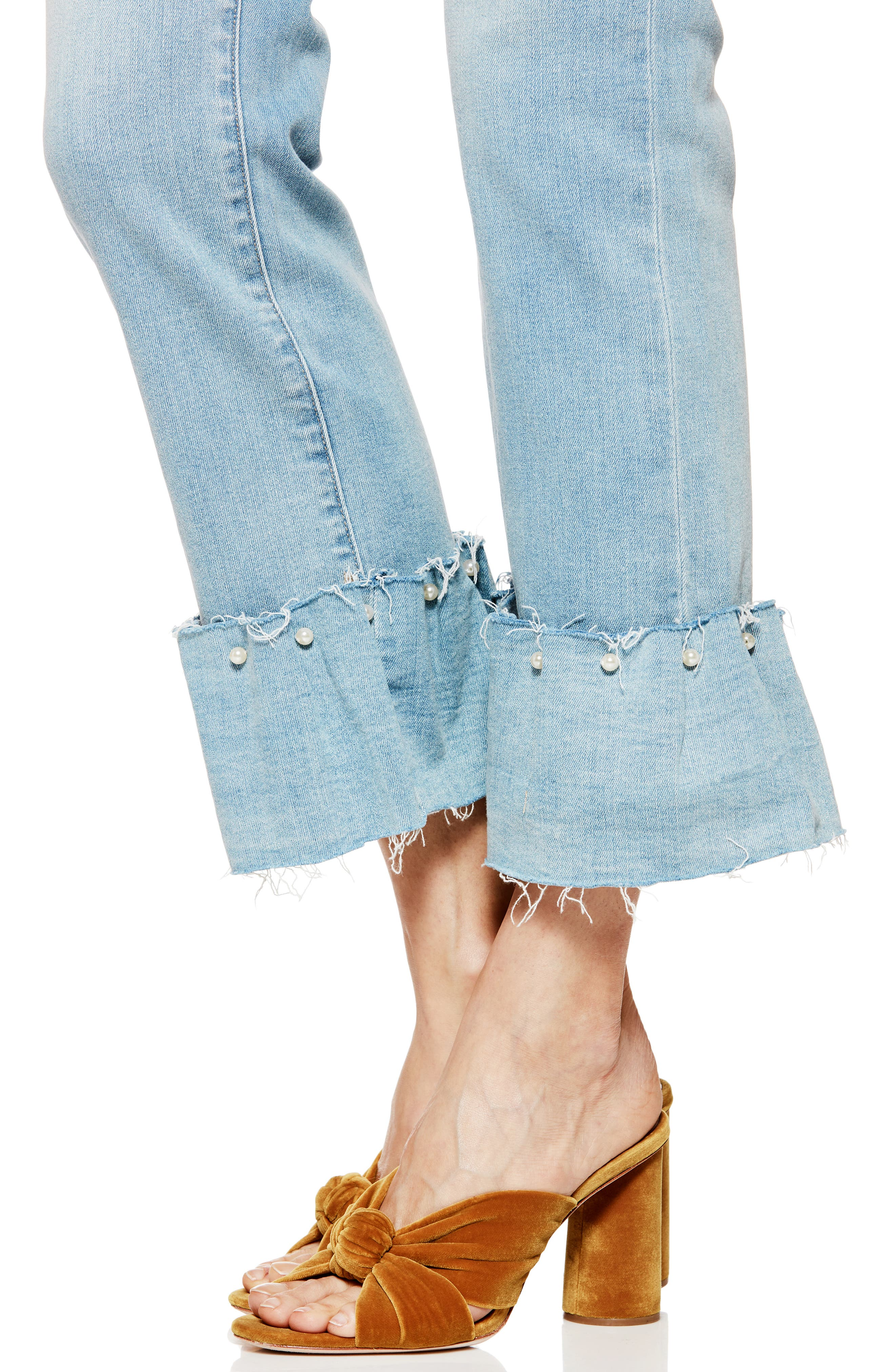Transcend Vintage - Hoxton Embellished Ruffle High Waist Jeans,                             Alternate thumbnail 6, color,                             PALMS
