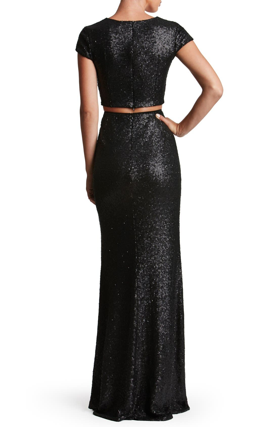 Cara Sequin Two-Piece Gown,                             Alternate thumbnail 2, color,                             001