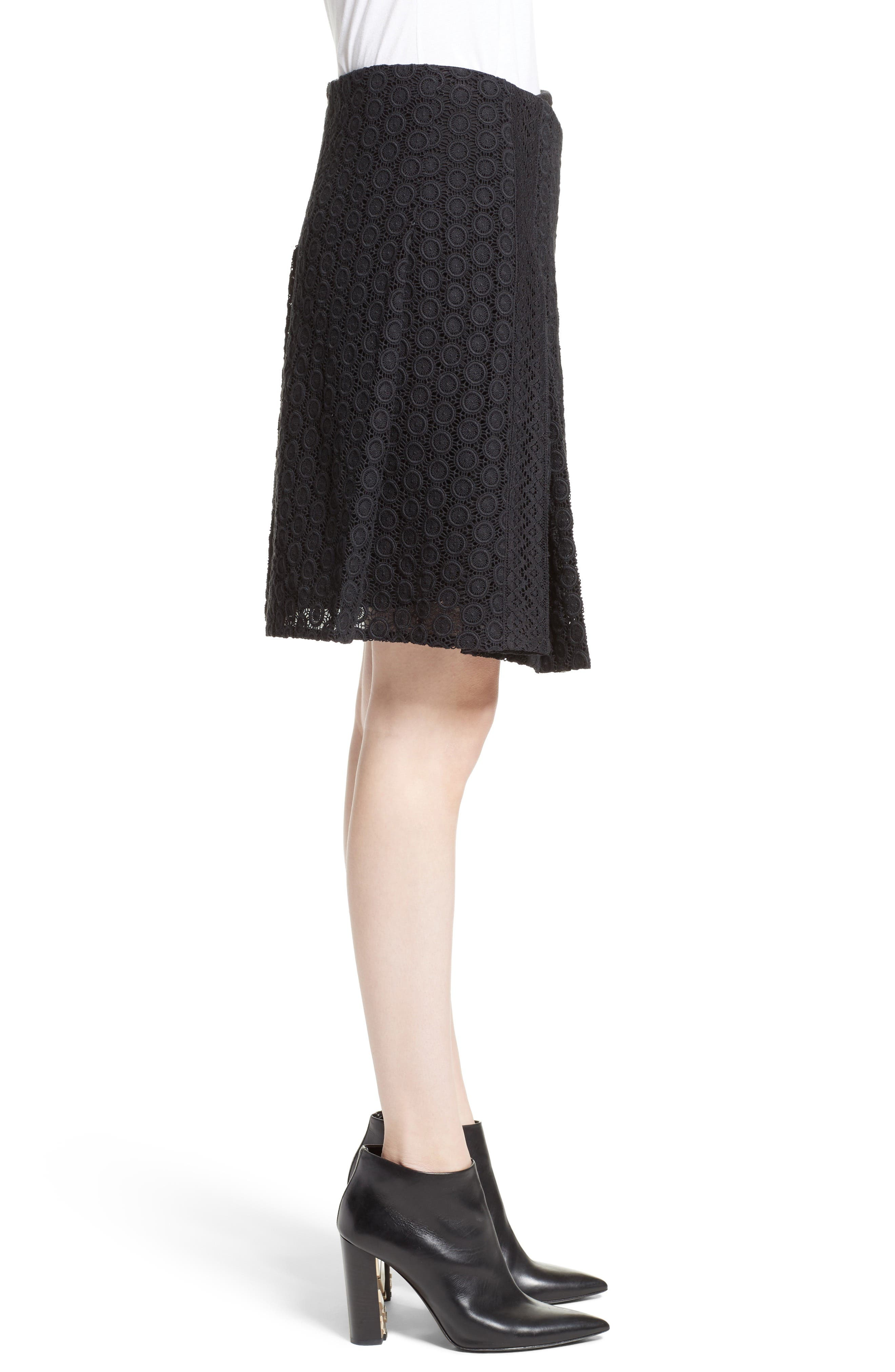 Howe Mixed Lace Pleated Wrap Skirt,                             Alternate thumbnail 3, color,                             001