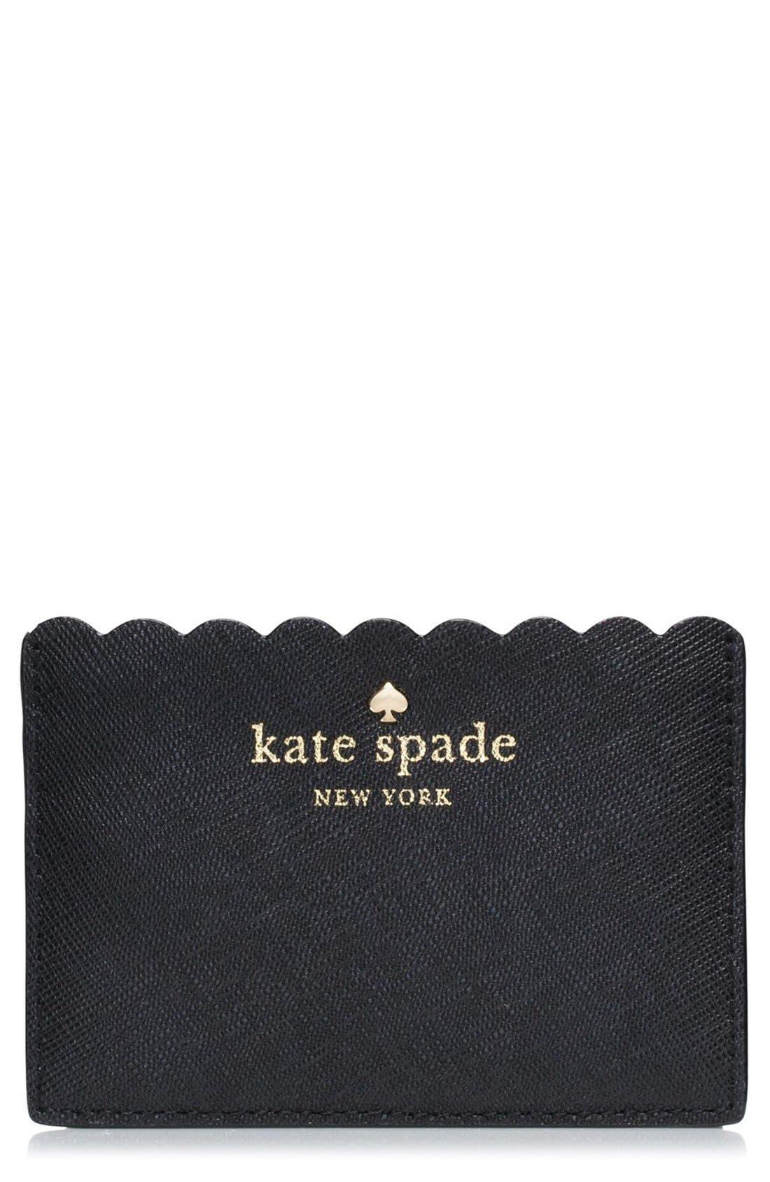 'cape drive' saffiano leather card holder,                         Main,                         color, 001