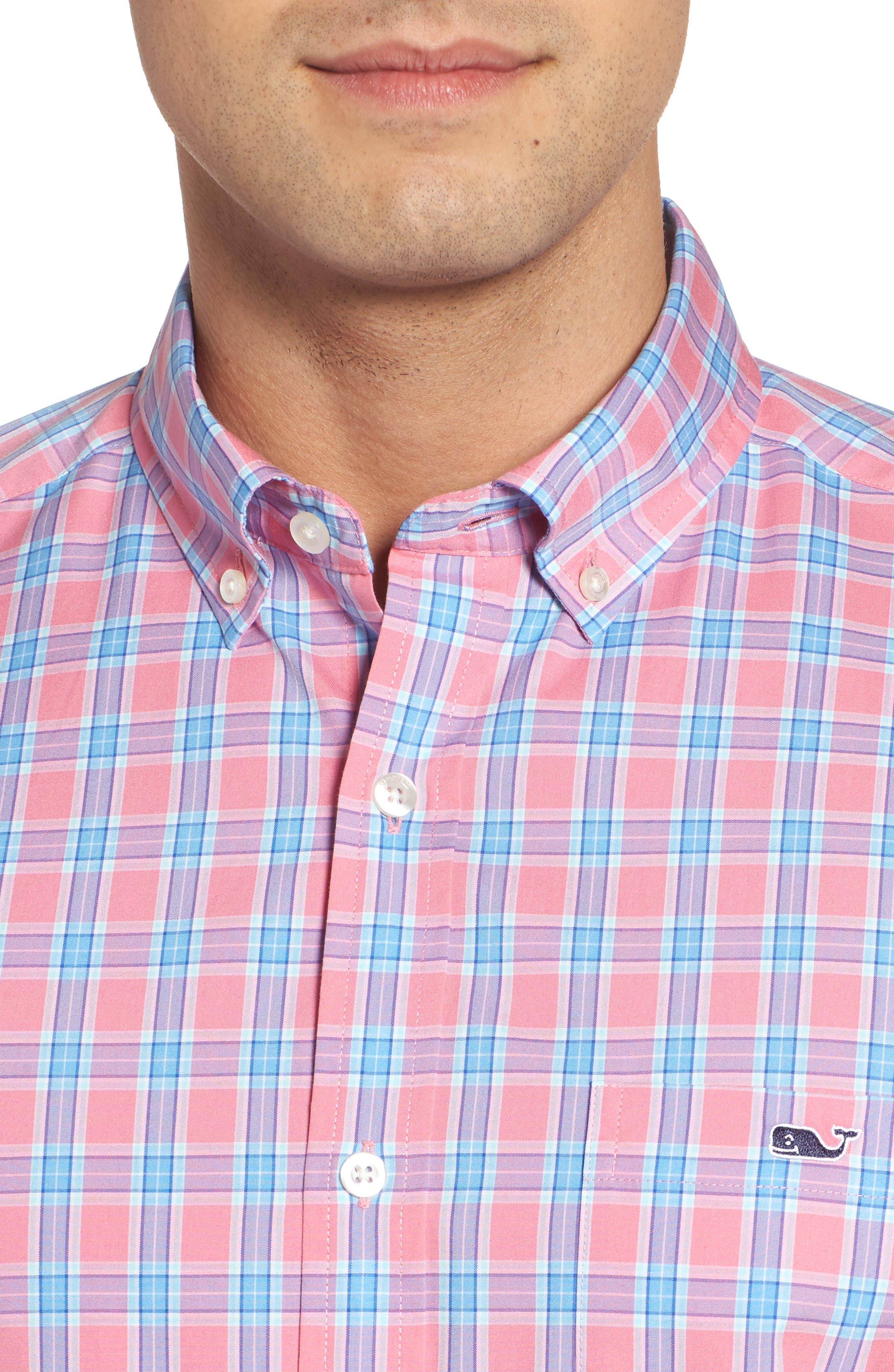 Tucker Bayard Classic Fit Plaid Sport Shirt,                             Alternate thumbnail 4, color,                             650