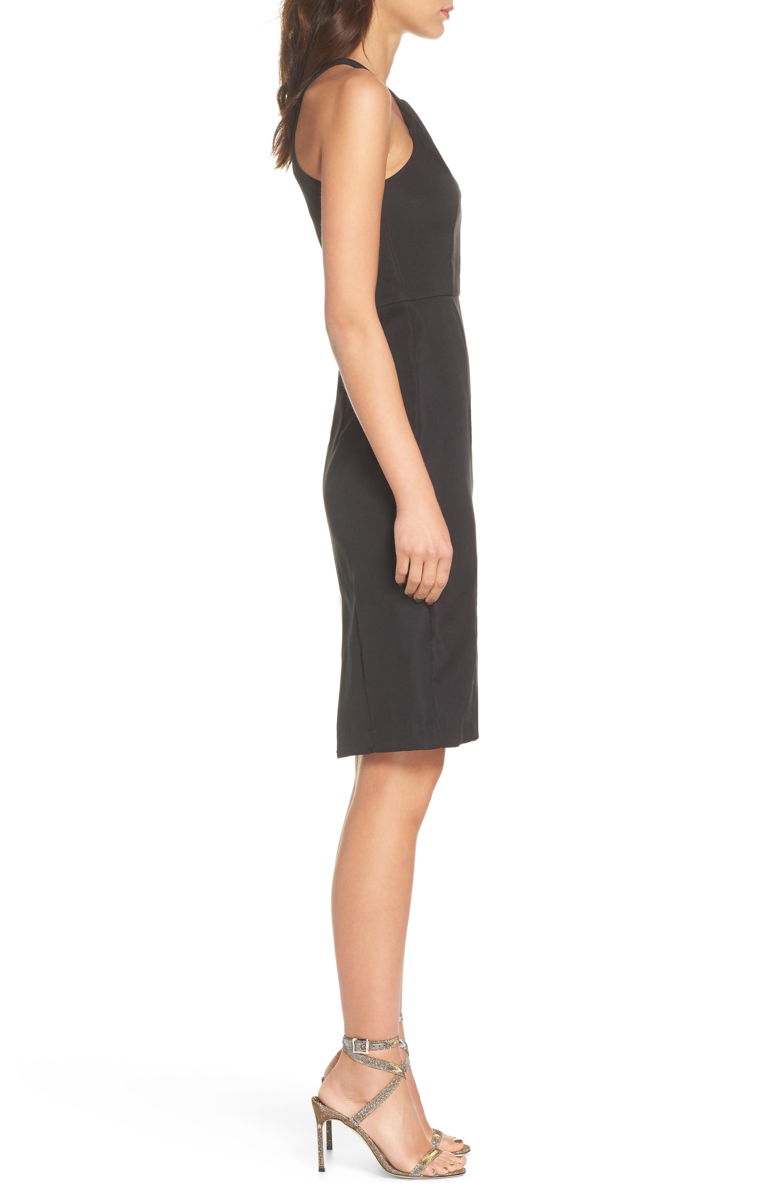 Be My Baby Halter Sheath Dress,                             Alternate thumbnail 3, color,                             BLACK