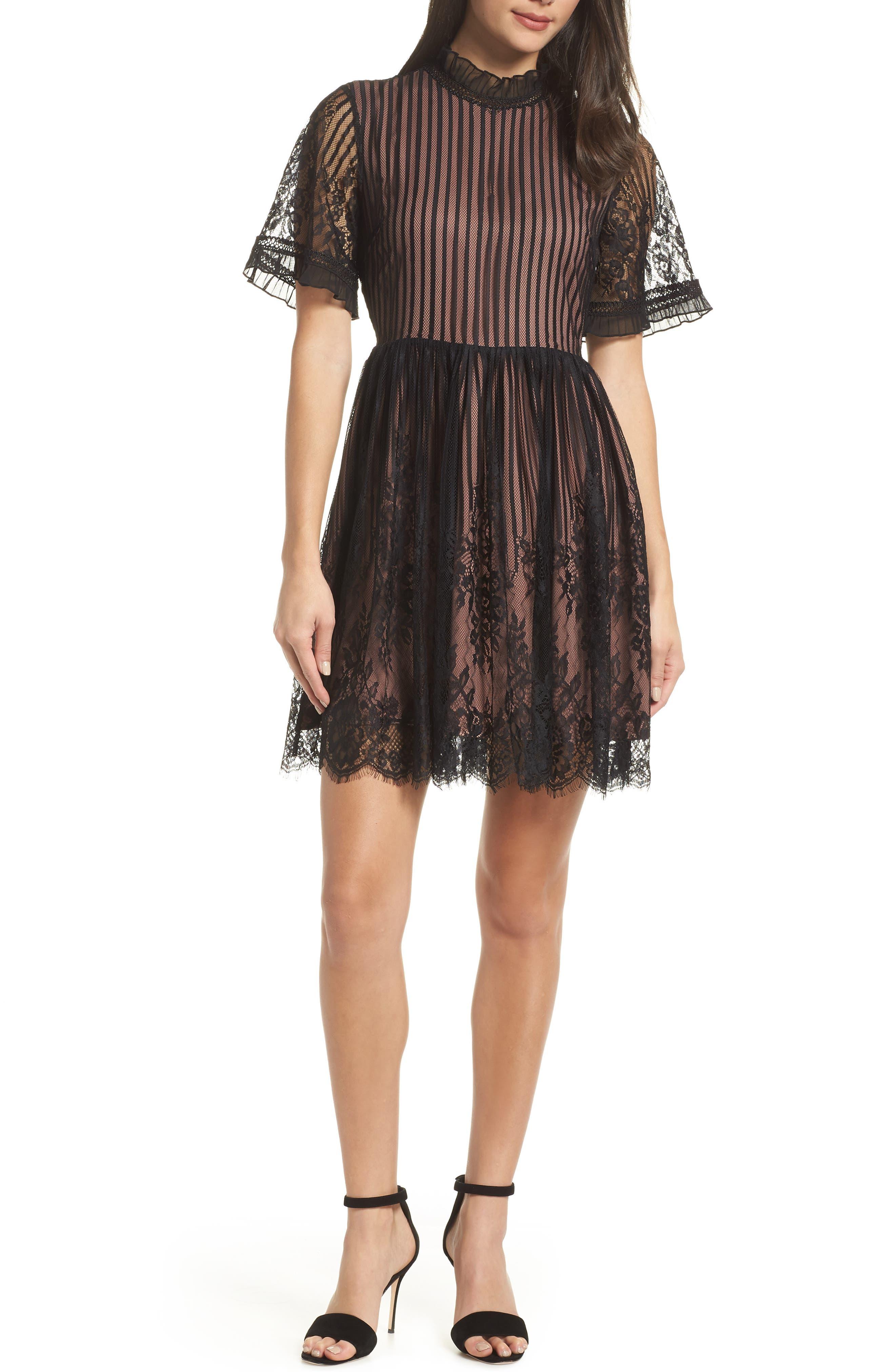 Chelsea28 Shadow Stripe Lace Dress, Black