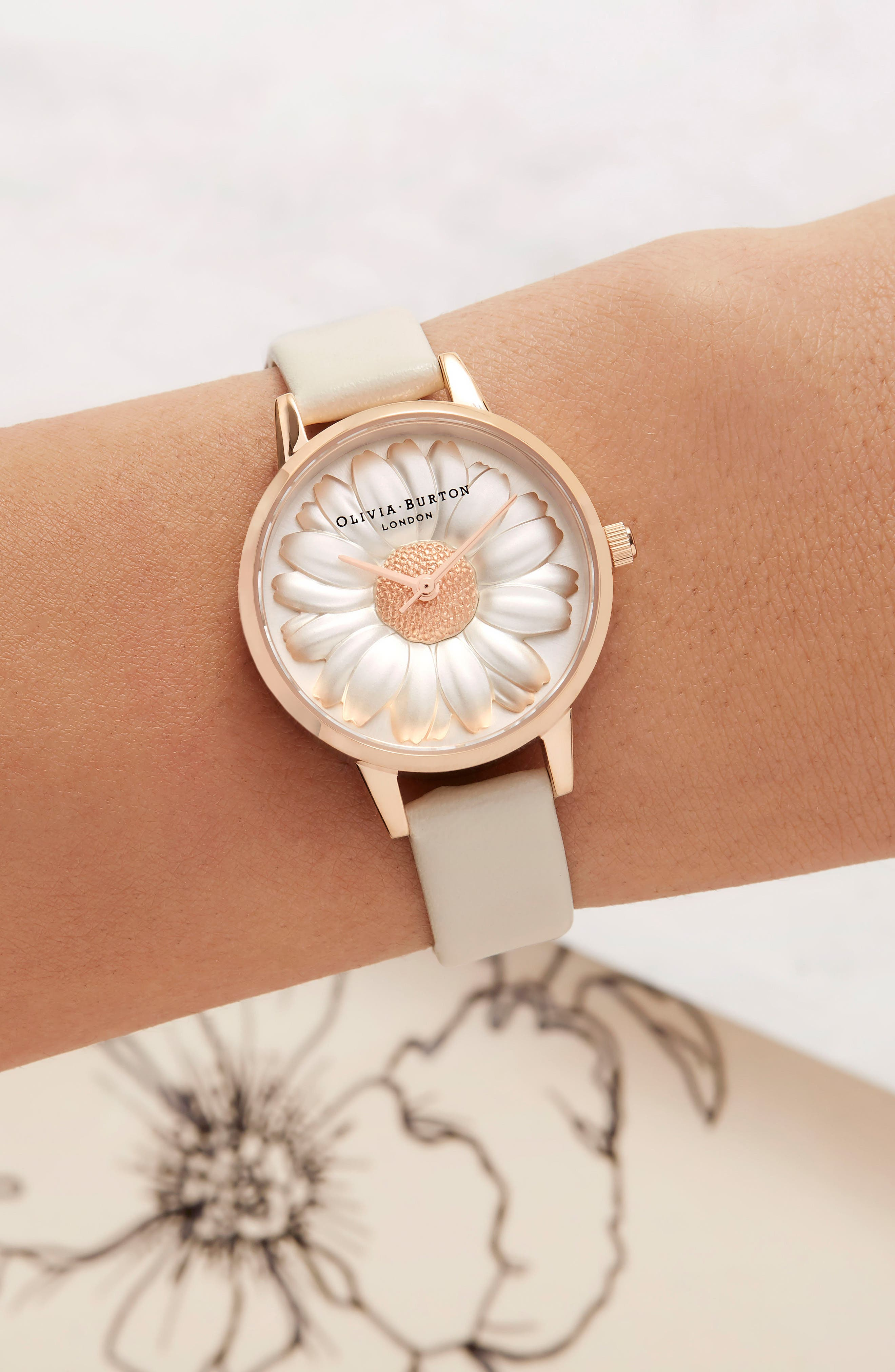 3D Daisey Faux Leather Strap Watch, 30mm,                             Alternate thumbnail 4, color,                             NUDE/ DAISY/ ROSE GOLD