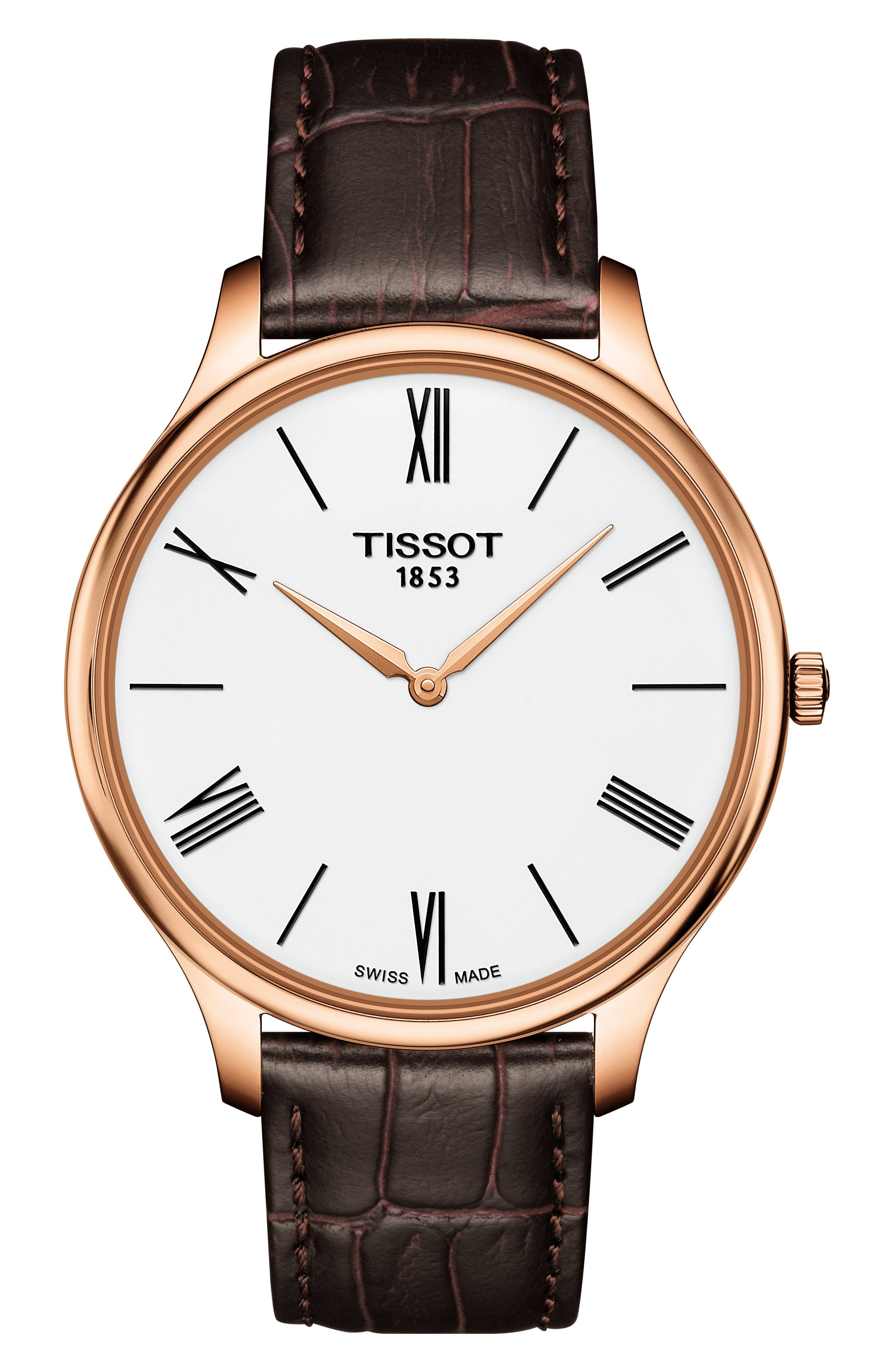 Tradition 5.5 Round Leather Strap Watch, 39mm,                             Main thumbnail 1, color,                             BROWN/ WHITE/ ROSE GOLD