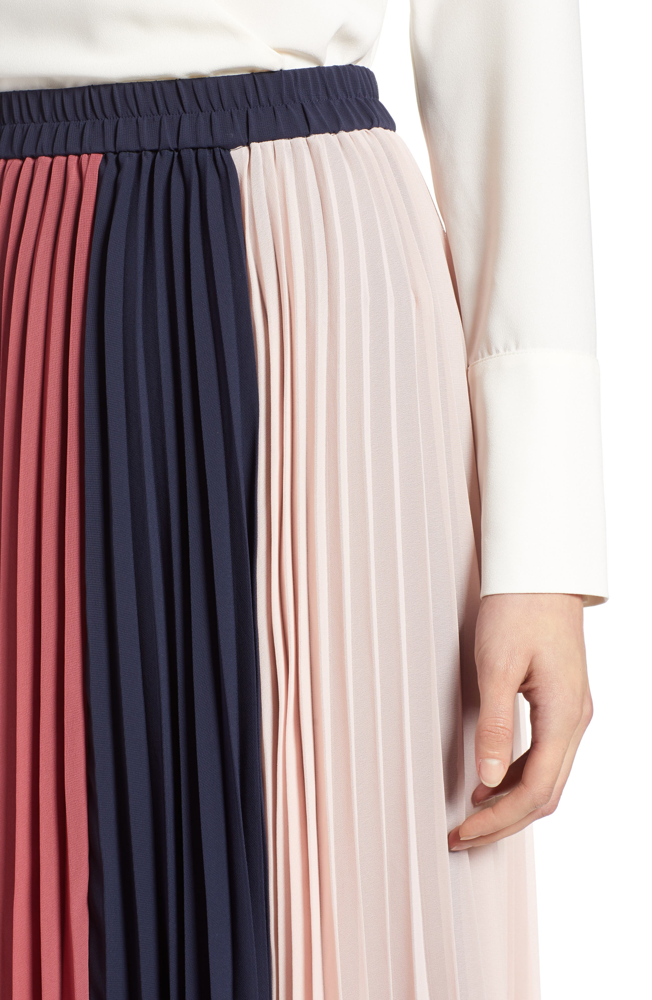x Atlantic-Pacific Colorblock Pleated Midi Skirt,                             Alternate thumbnail 5, color,                             PINK- NAVY COLORBLOCK