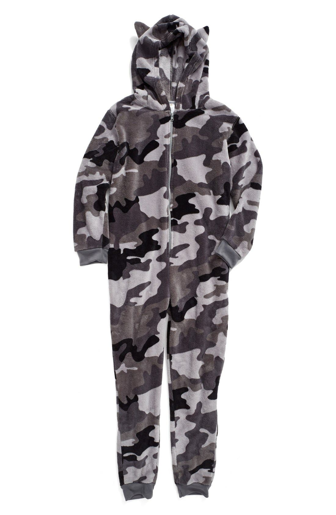 Print Fleece One-Piece Pajamas,                         Main,                         color, 050