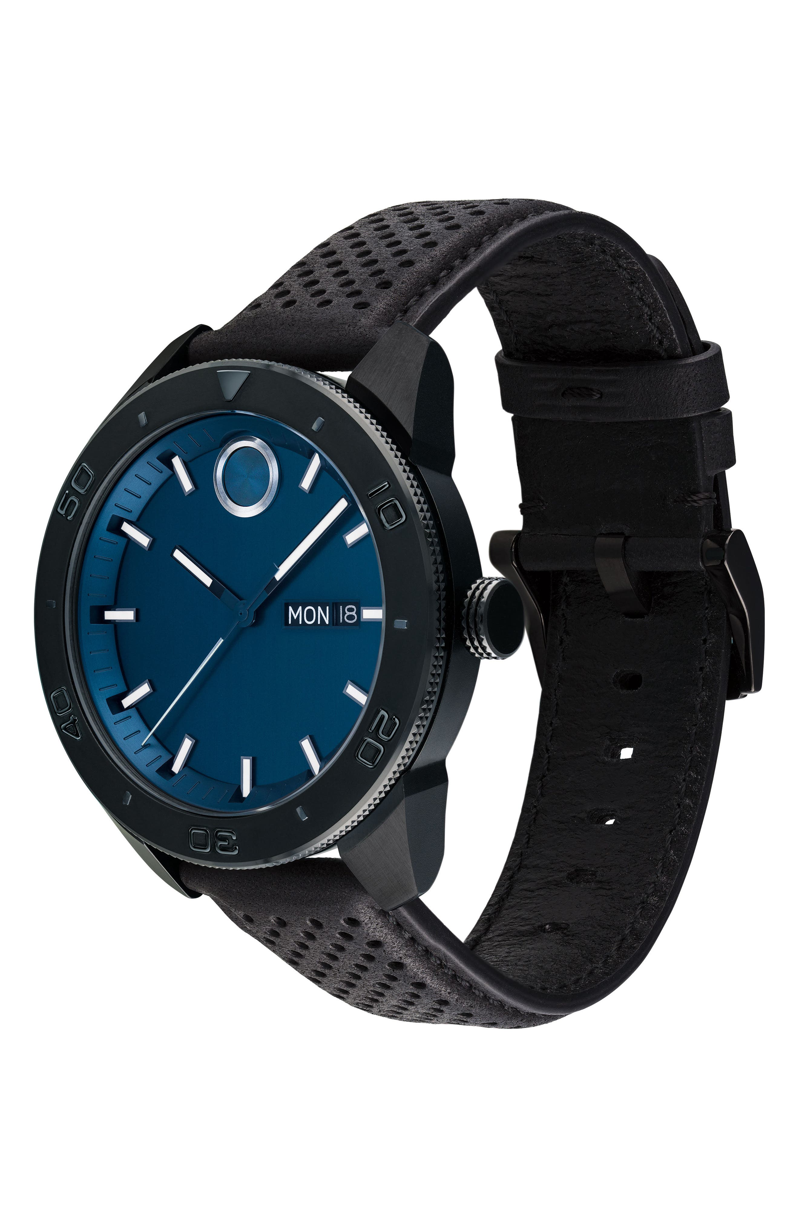 Bold Metals Sport Leather Strap Watch, 43mm,                             Alternate thumbnail 3, color,                             BLACK/ BLUE/ BLACK