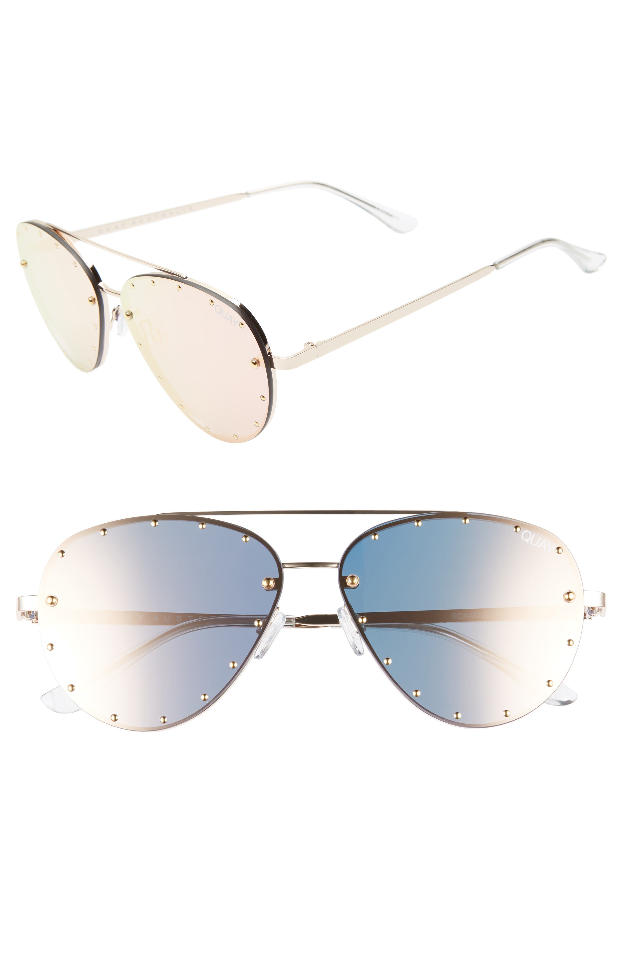 x Jaclyn Hill Roxanne 62mm Stud Aviator Sunglasses,                         Main,                         color, GOLD / ROSE