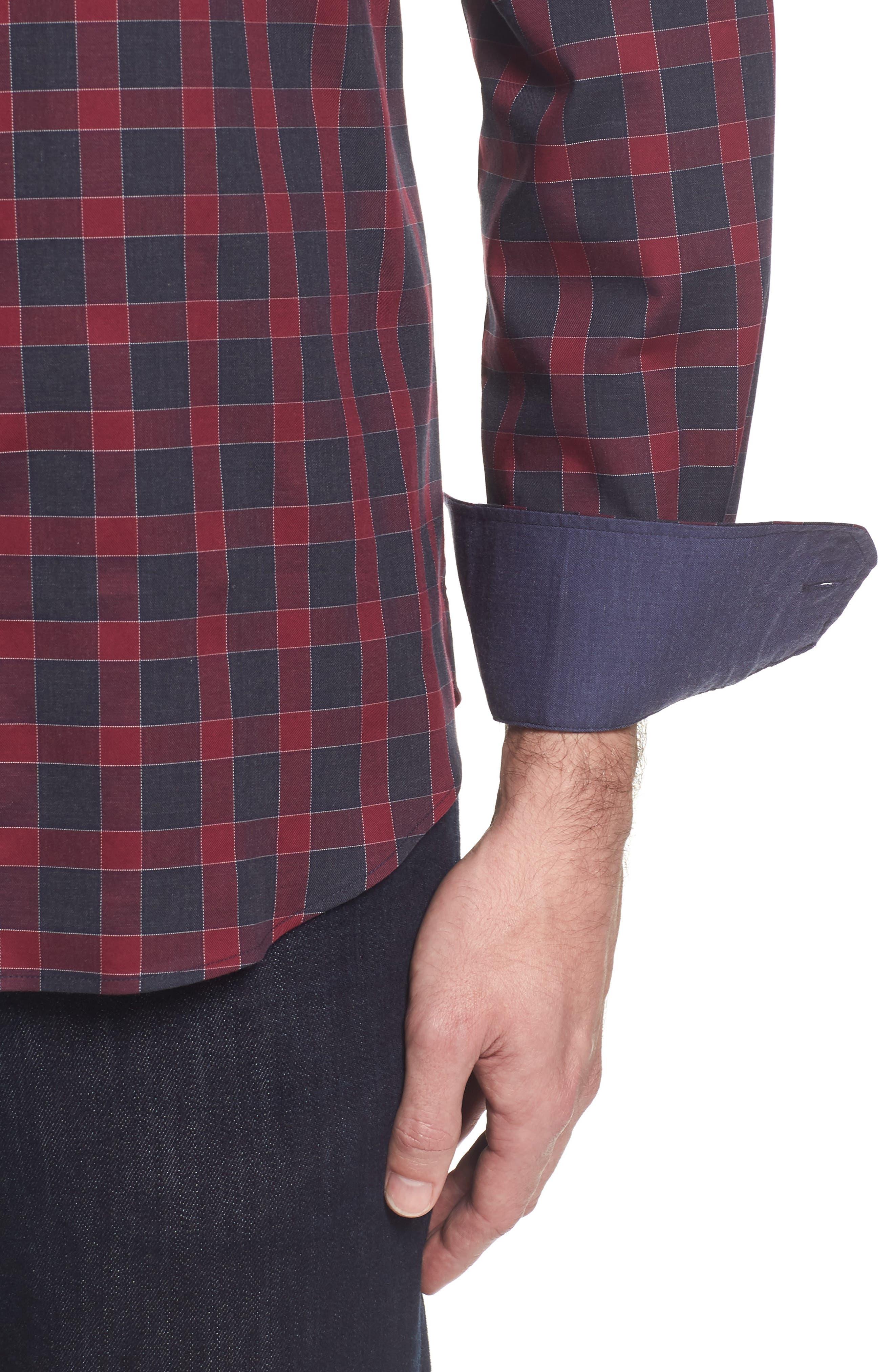 Shaped Fit Check Sport Shirt,                             Alternate thumbnail 4, color,                             610