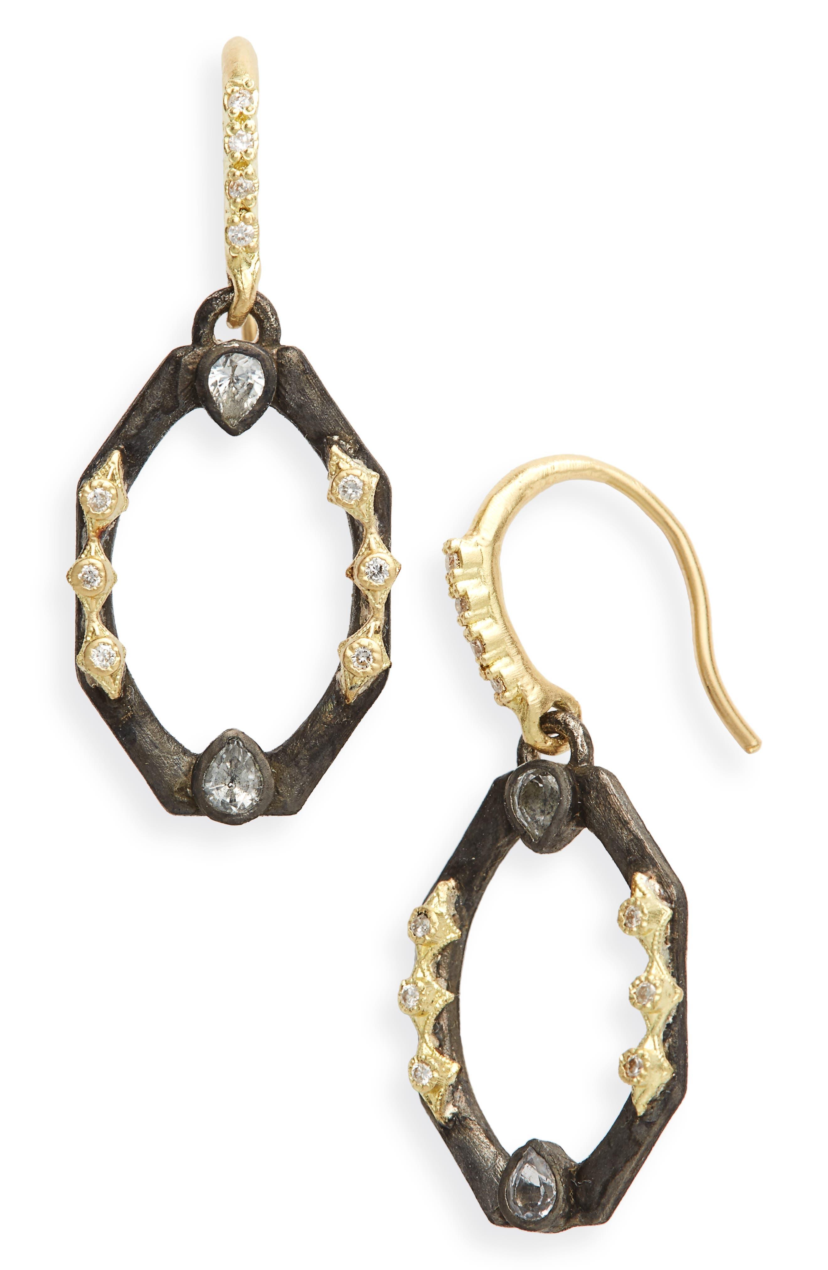 Old World Octagonal Diamond & Sapphire Drop Earrings,                             Main thumbnail 1, color,                             SILVER
