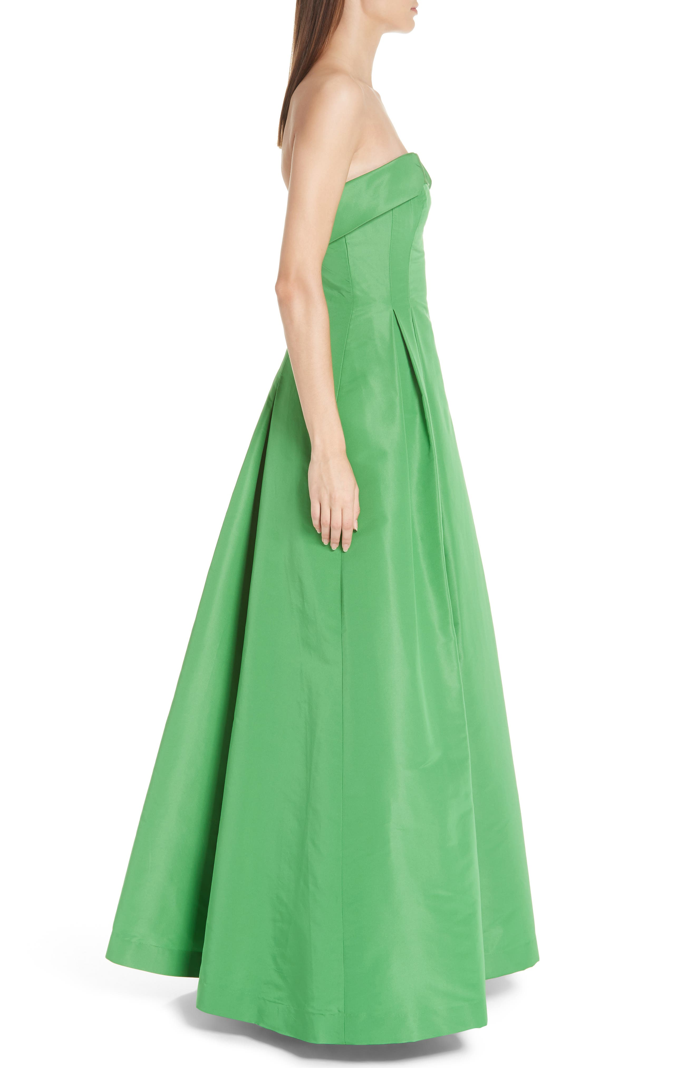 Foldover Strapless Ballgown,                             Alternate thumbnail 3, color,                             KELLY GREEN
