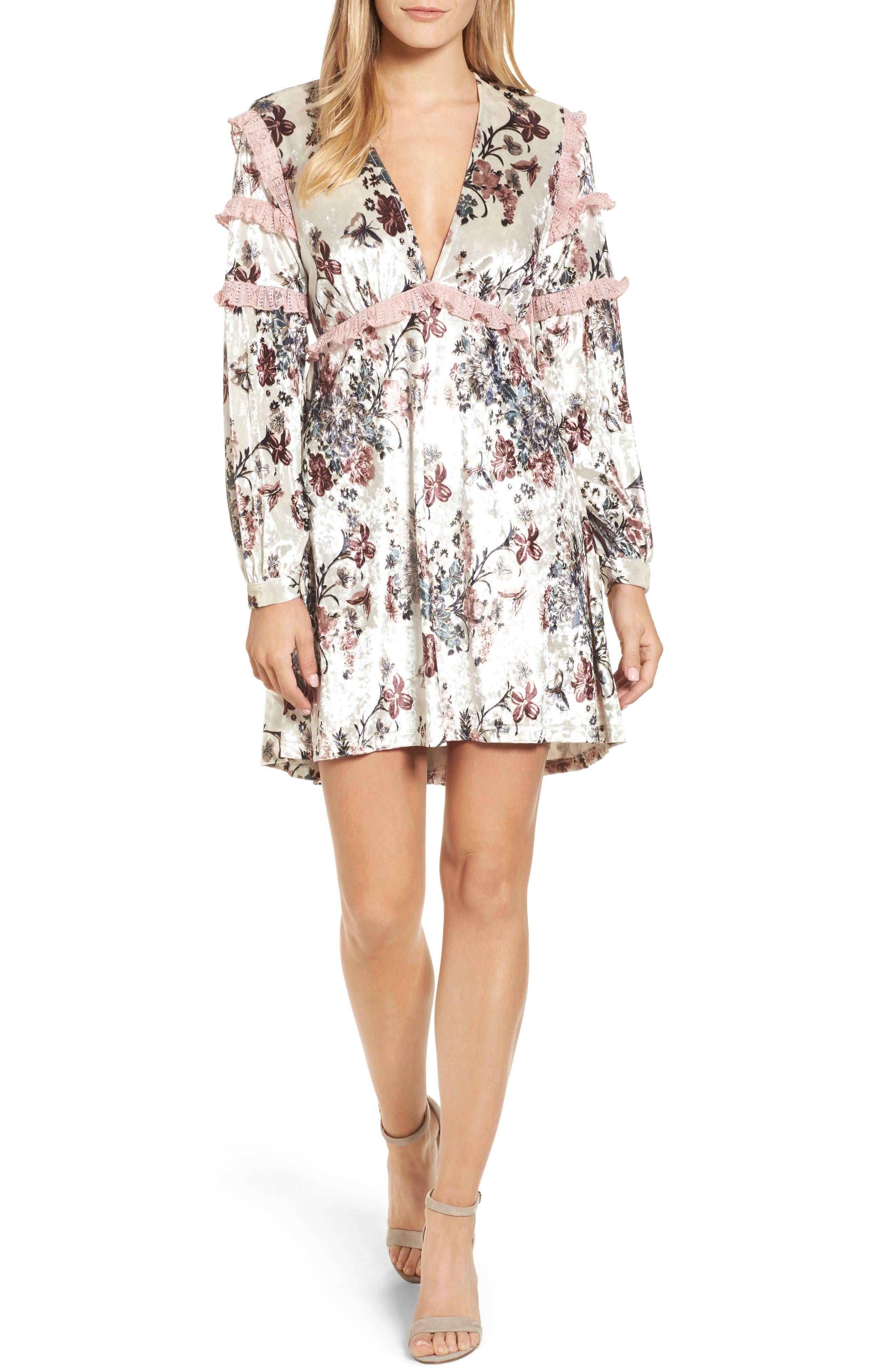 Melisa Floral Velvet & Lace Shift Dress,                             Main thumbnail 1, color,                             100