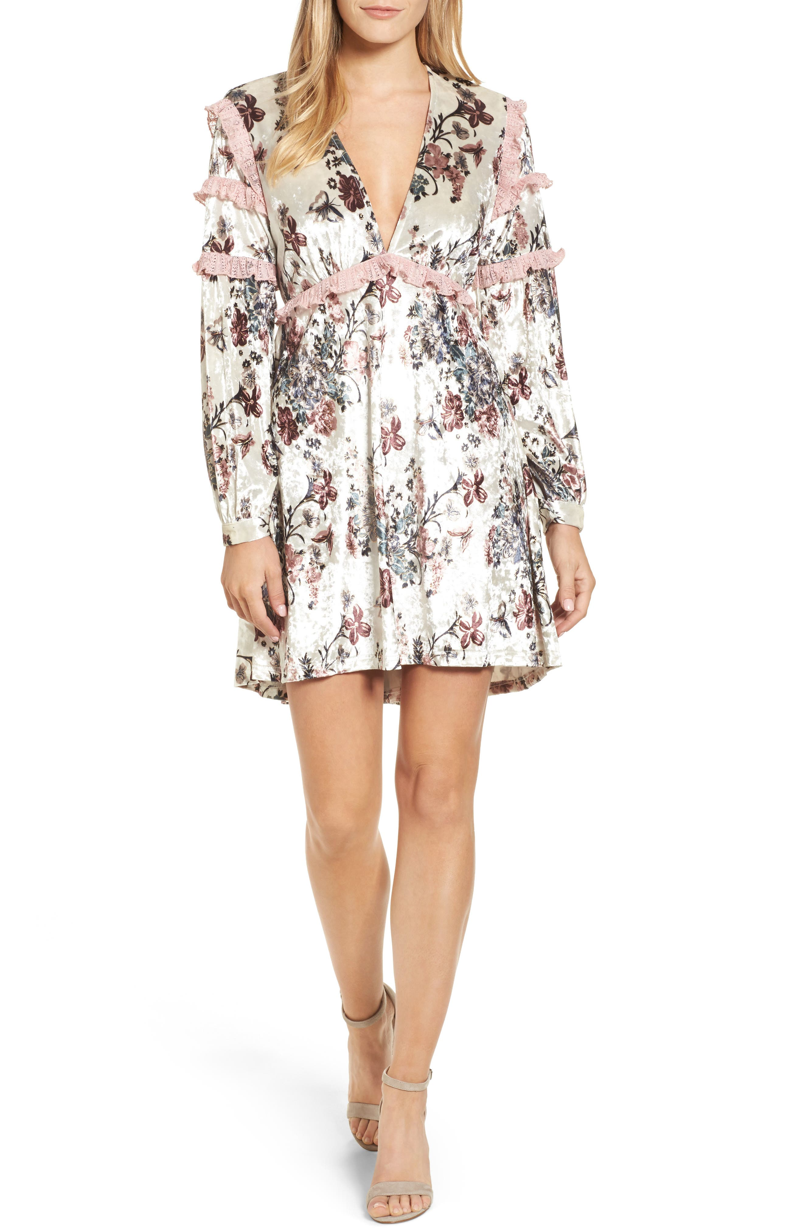 Melisa Floral Velvet & Lace Shift Dress,                         Main,                         color, 100
