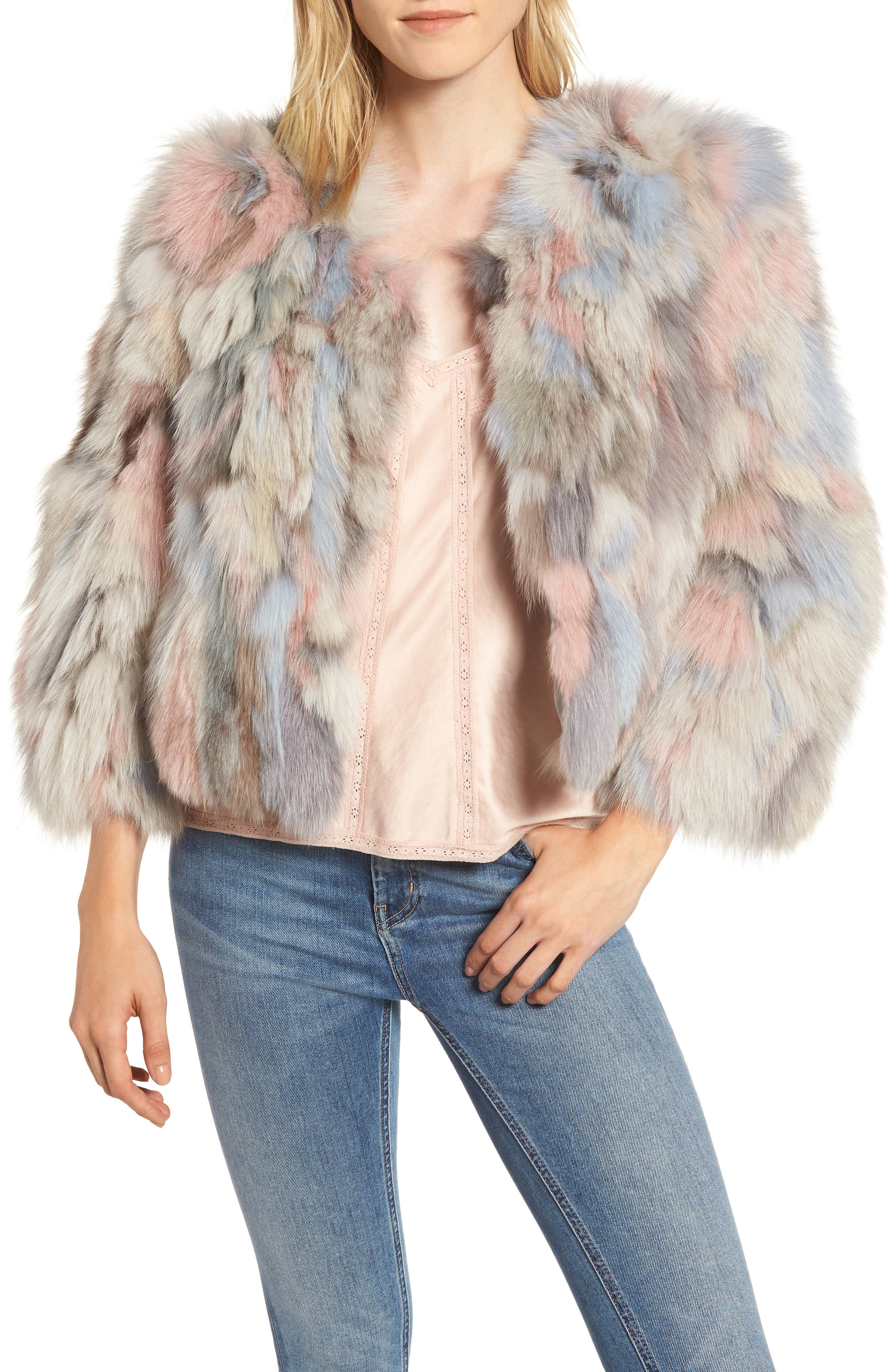 Genuine Fox Fur Bolero,                             Main thumbnail 1, color,                             NUDE MULTI