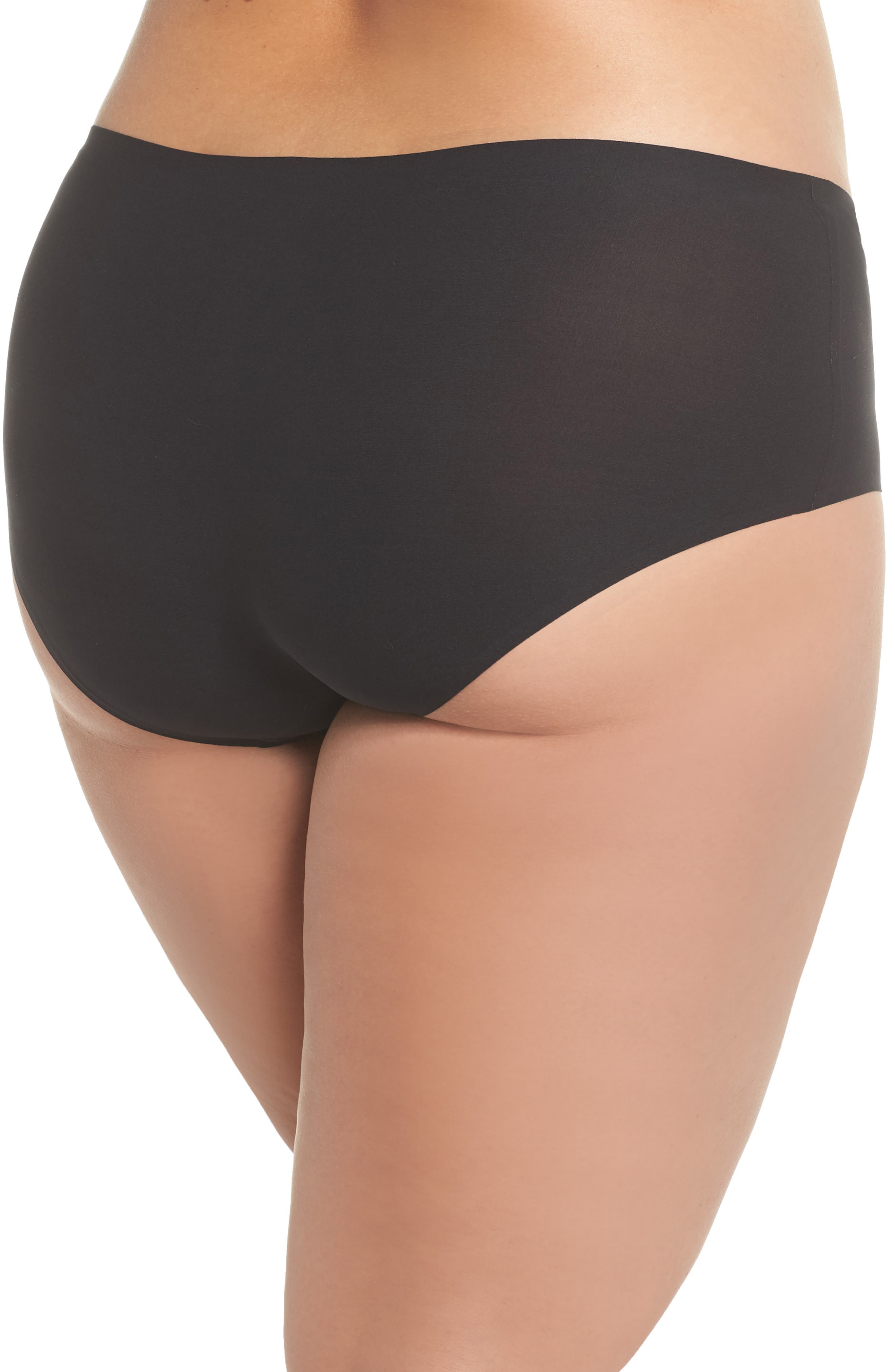 Soft Stretch Seamless Hipster Panties,                             Alternate thumbnail 2, color,                             BLACK