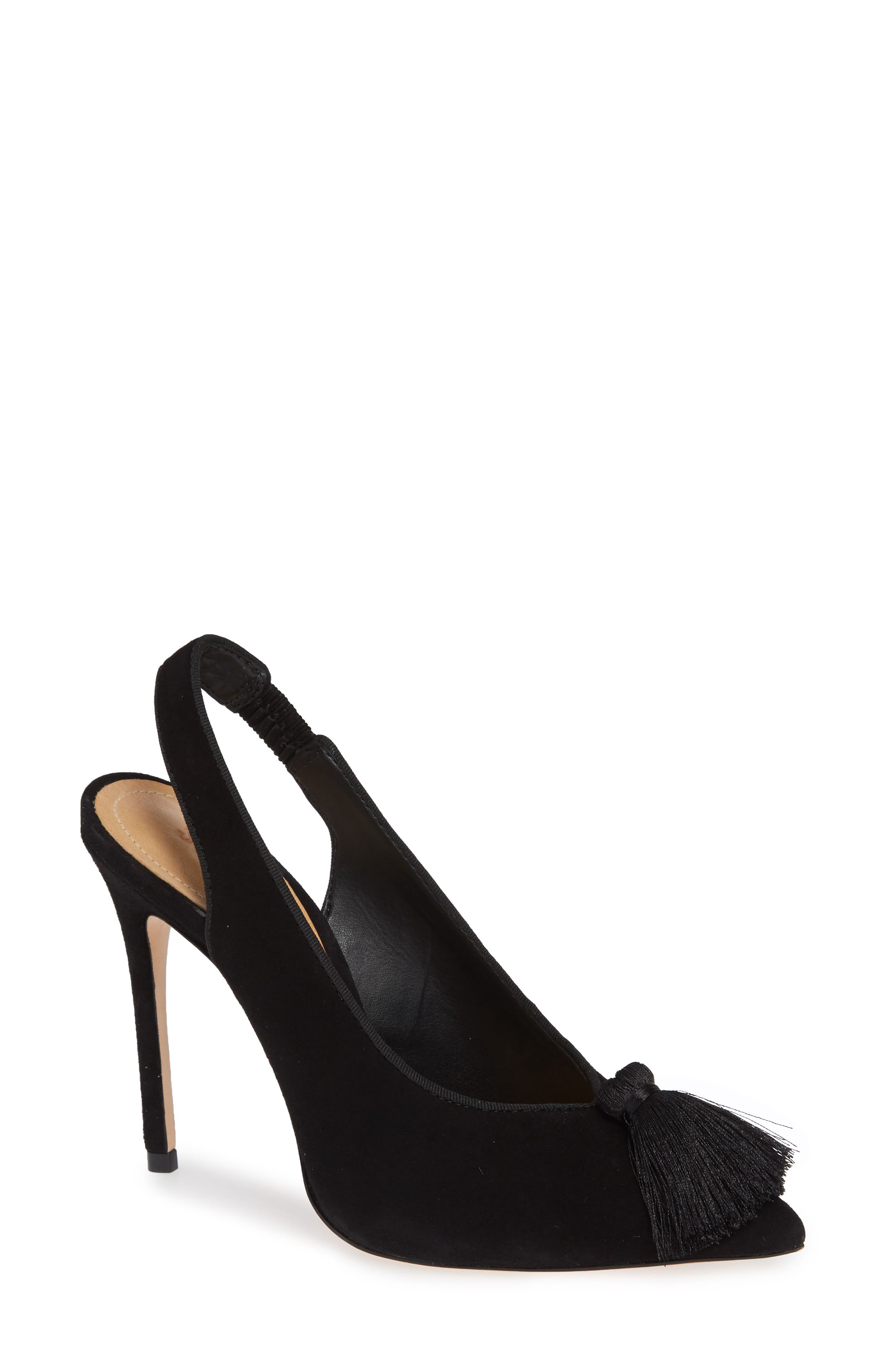Elsy Slingback Pump,                             Main thumbnail 1, color,                             BLACK SUEDE