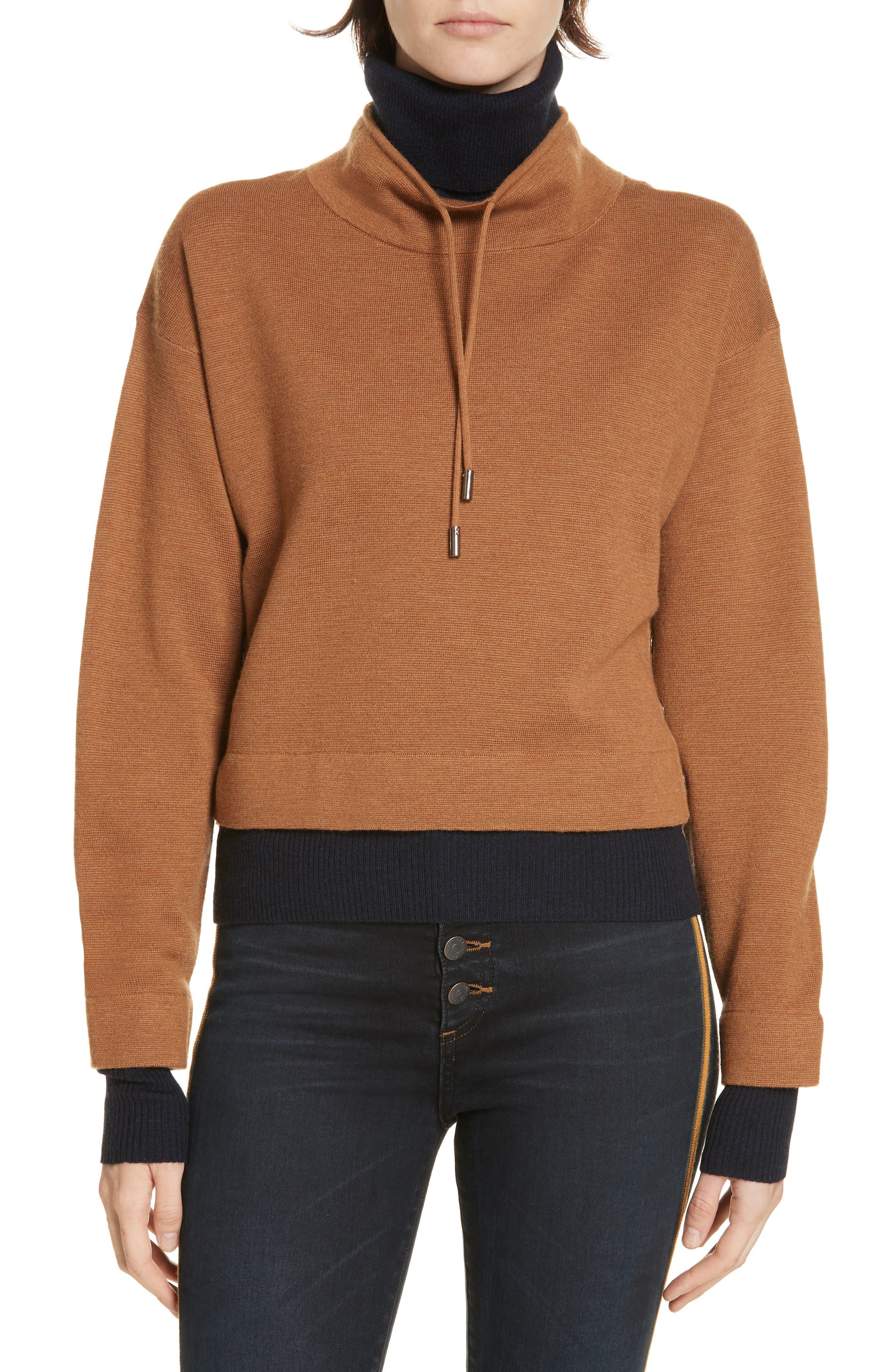 Veronica Beard Meade Layered Merino Wool Sweater, Brown