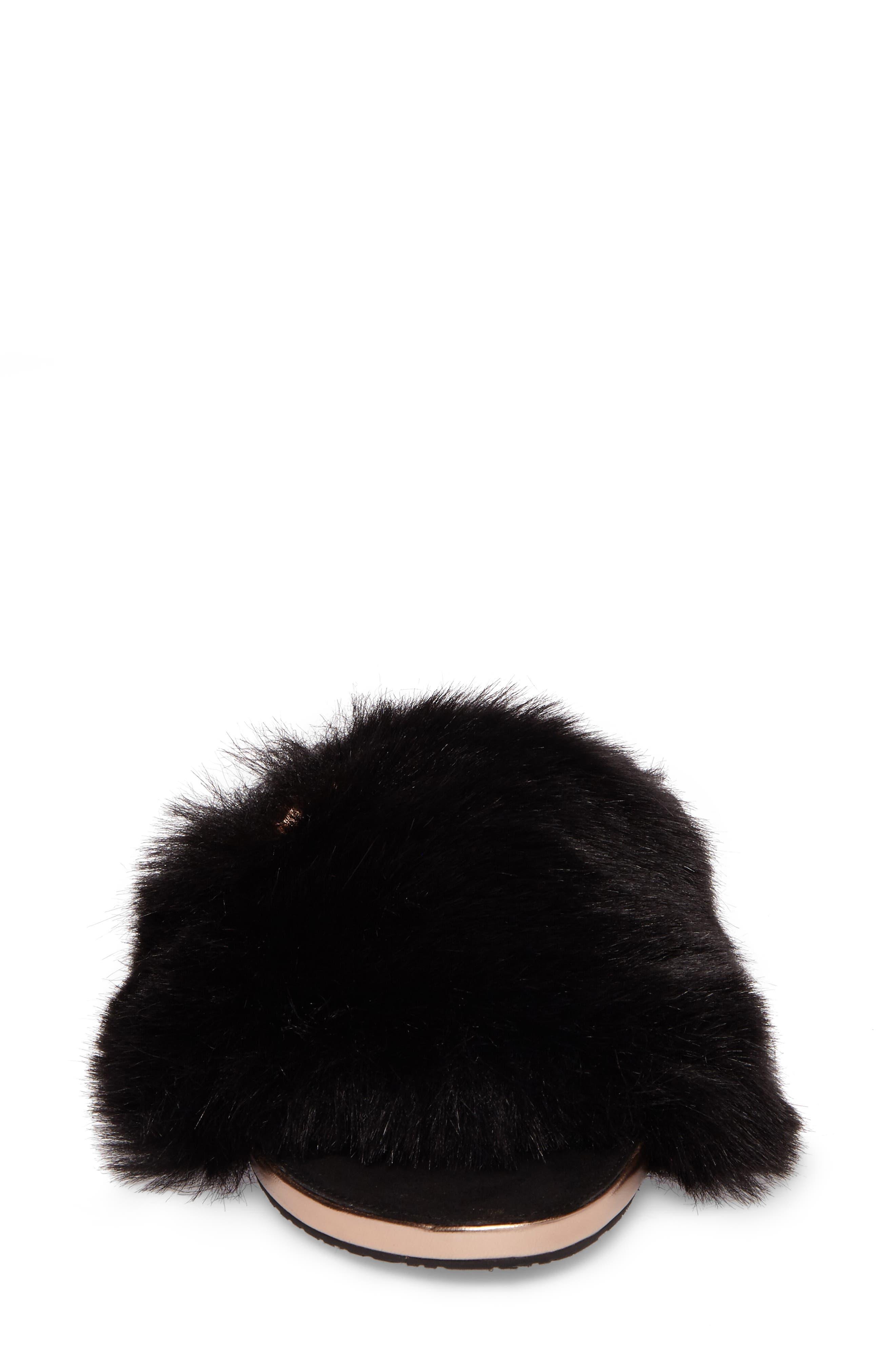 Pancey Faux Fur Slipper,                             Alternate thumbnail 4, color,                             001