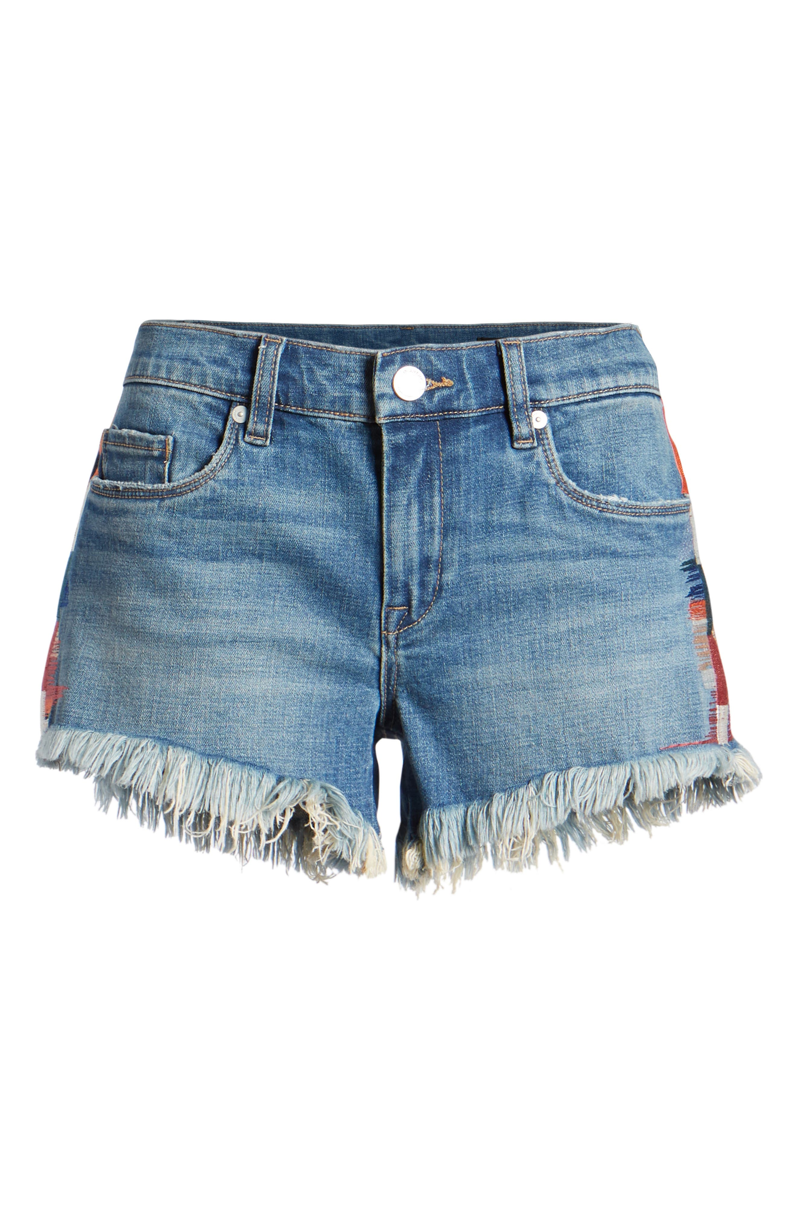 The Astor Embroidered Denim Shorts,                             Alternate thumbnail 7, color,                             400