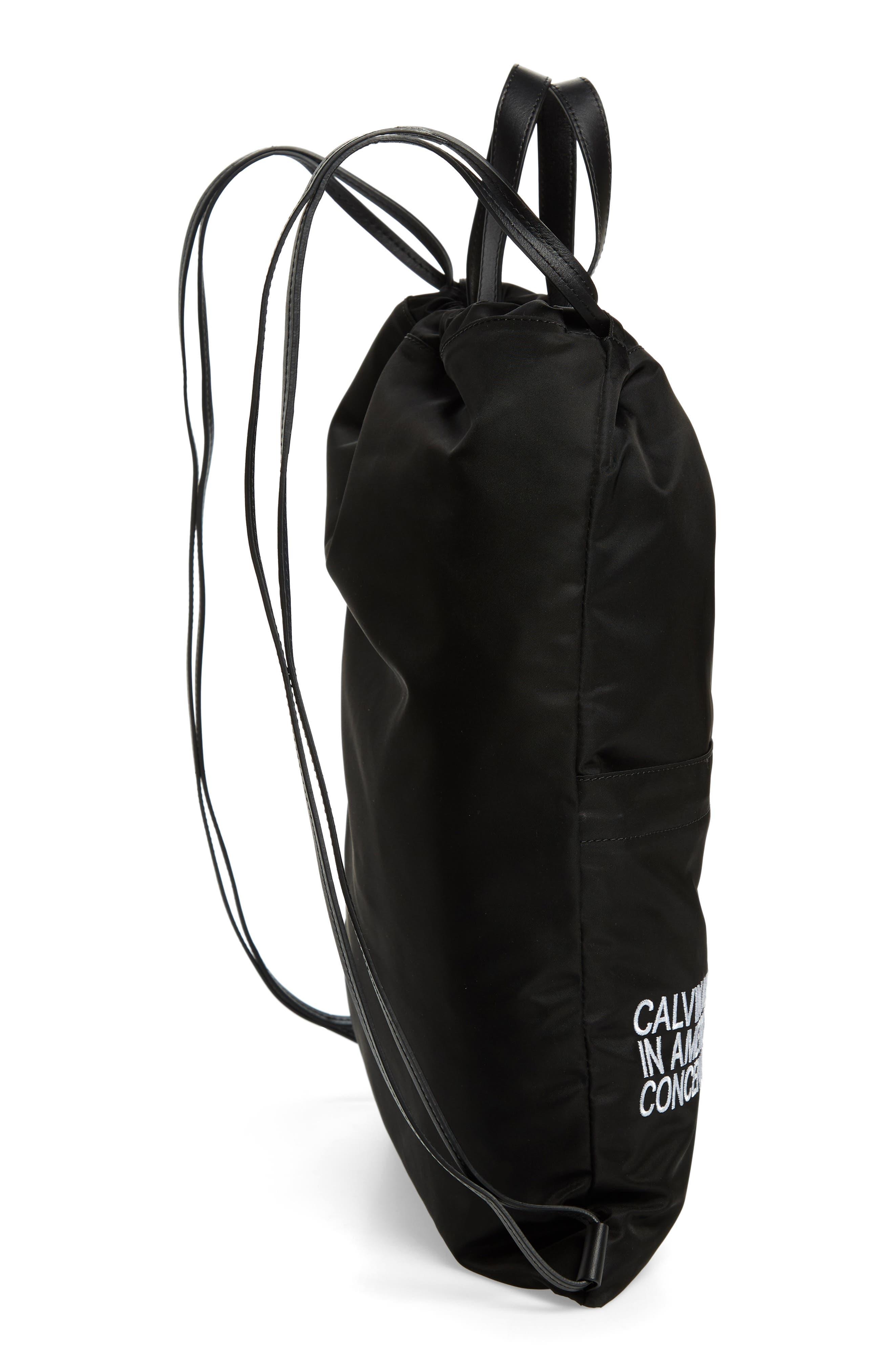 Drawstring Backpack,                             Alternate thumbnail 5, color,                             BLACK