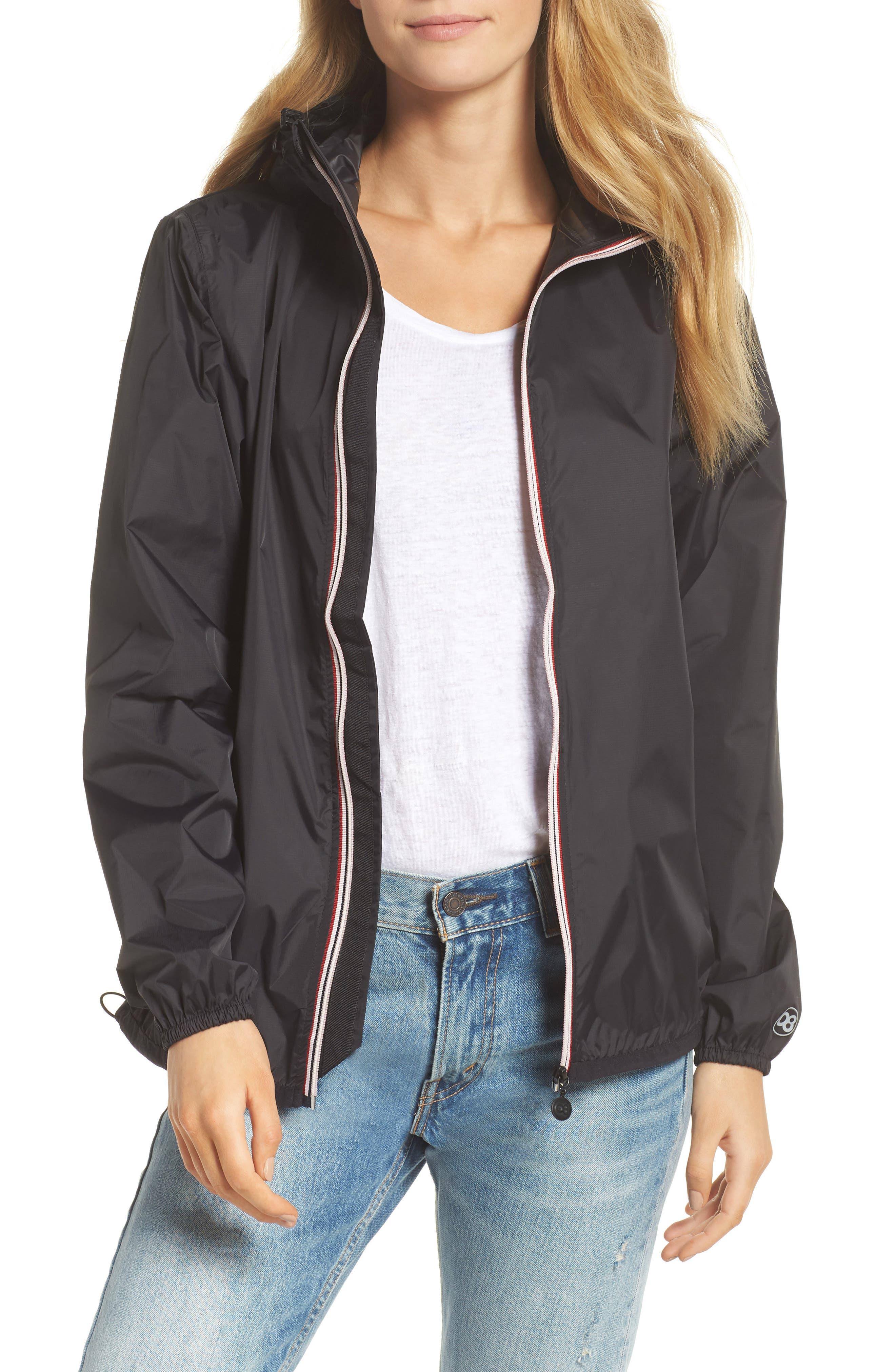 Packable Rain Jacket,                         Main,                         color, BLACK