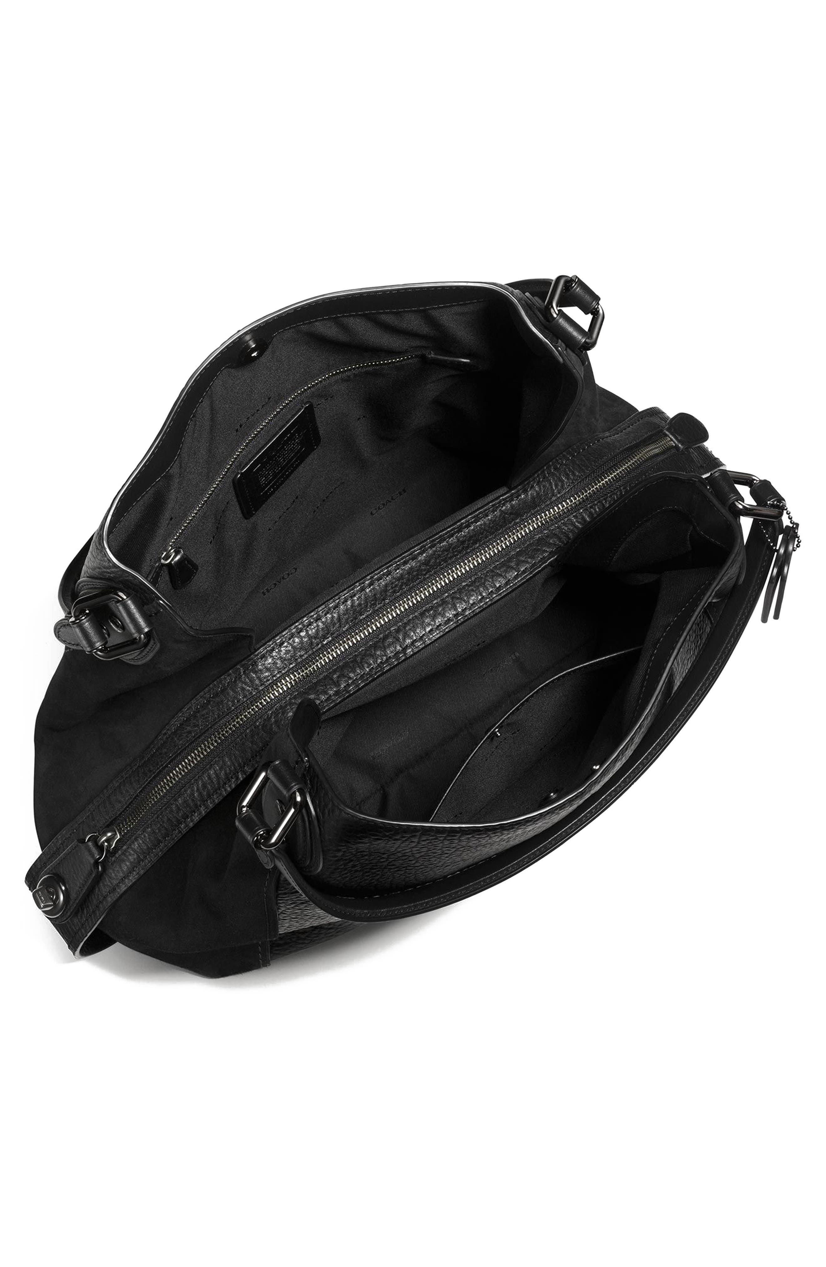 Edie 42 Leather & Suede Shoulder Bag,                             Alternate thumbnail 4, color,                             BLACK