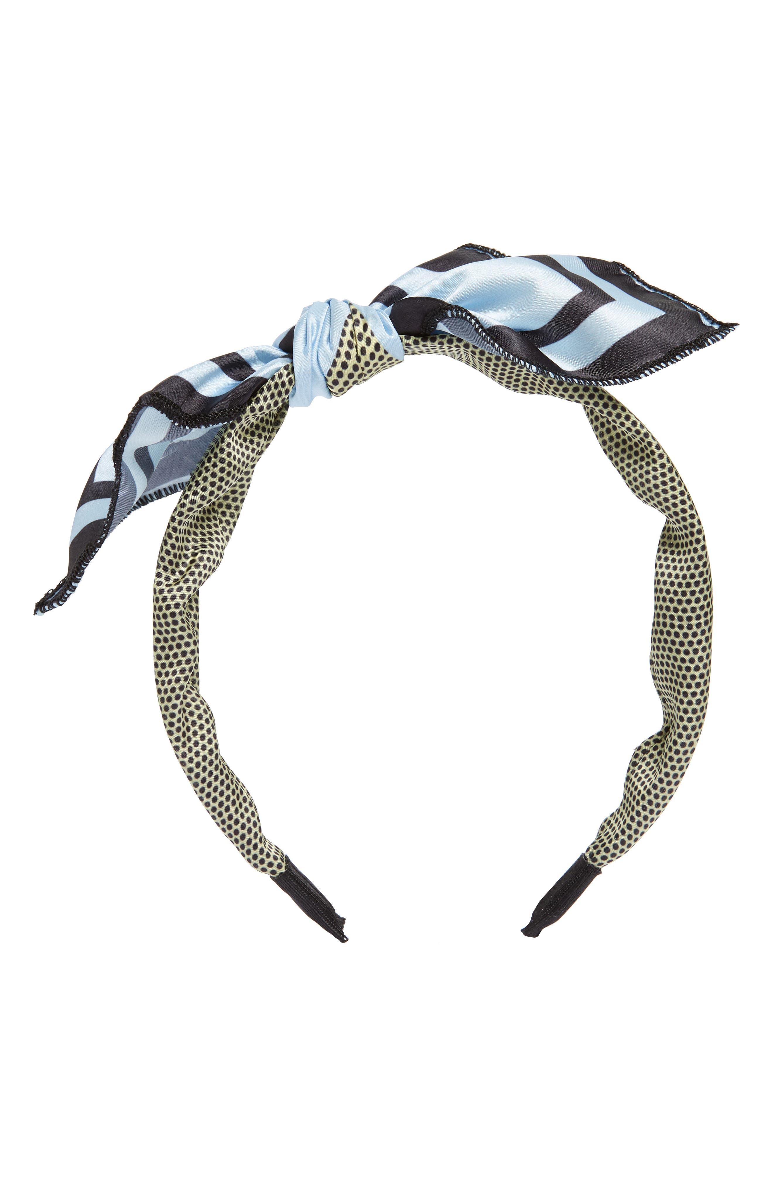 Mixed Media Bow Headband,                         Main,                         color, BLUE MULTI