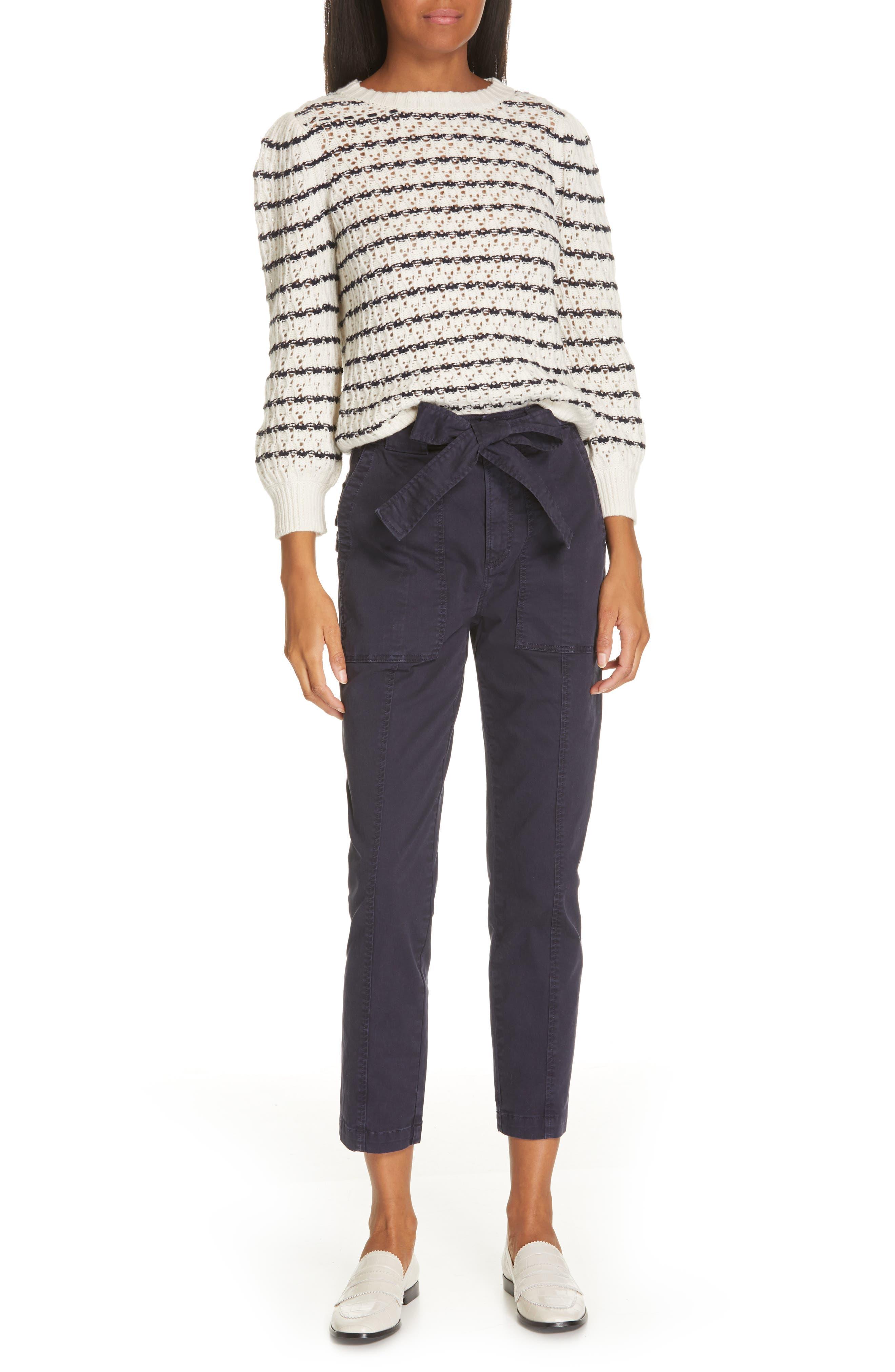 LA VIE REBECCA TAYLOR,                             Stripe Pointelle Sweater,                             Alternate thumbnail 7, color,                             ECRU/ MIDNIGHT NAVY
