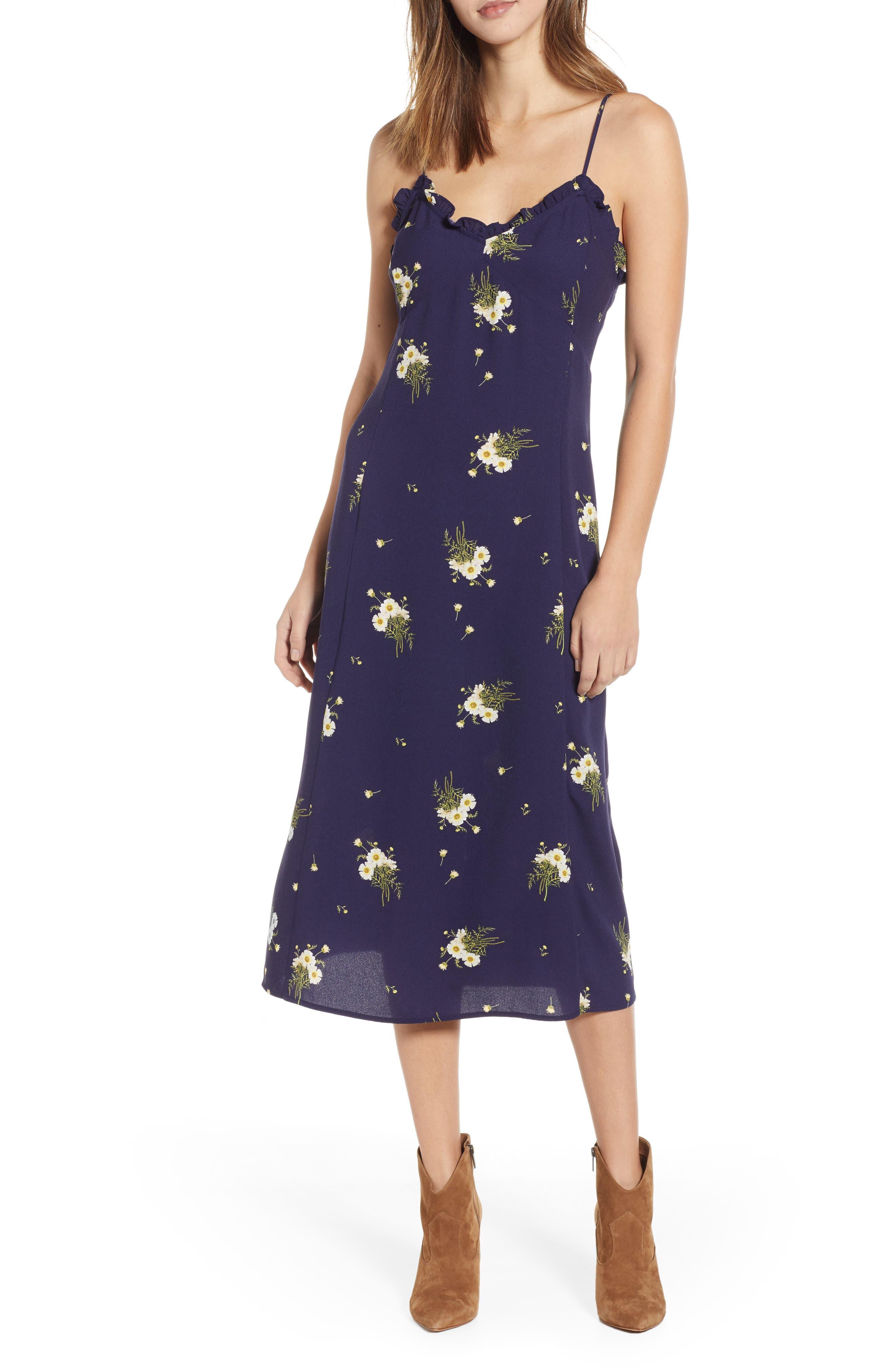 BP. Ruffle Trim Floral Print Midi Dress, Main, color, NAVY EVENING DAISY
