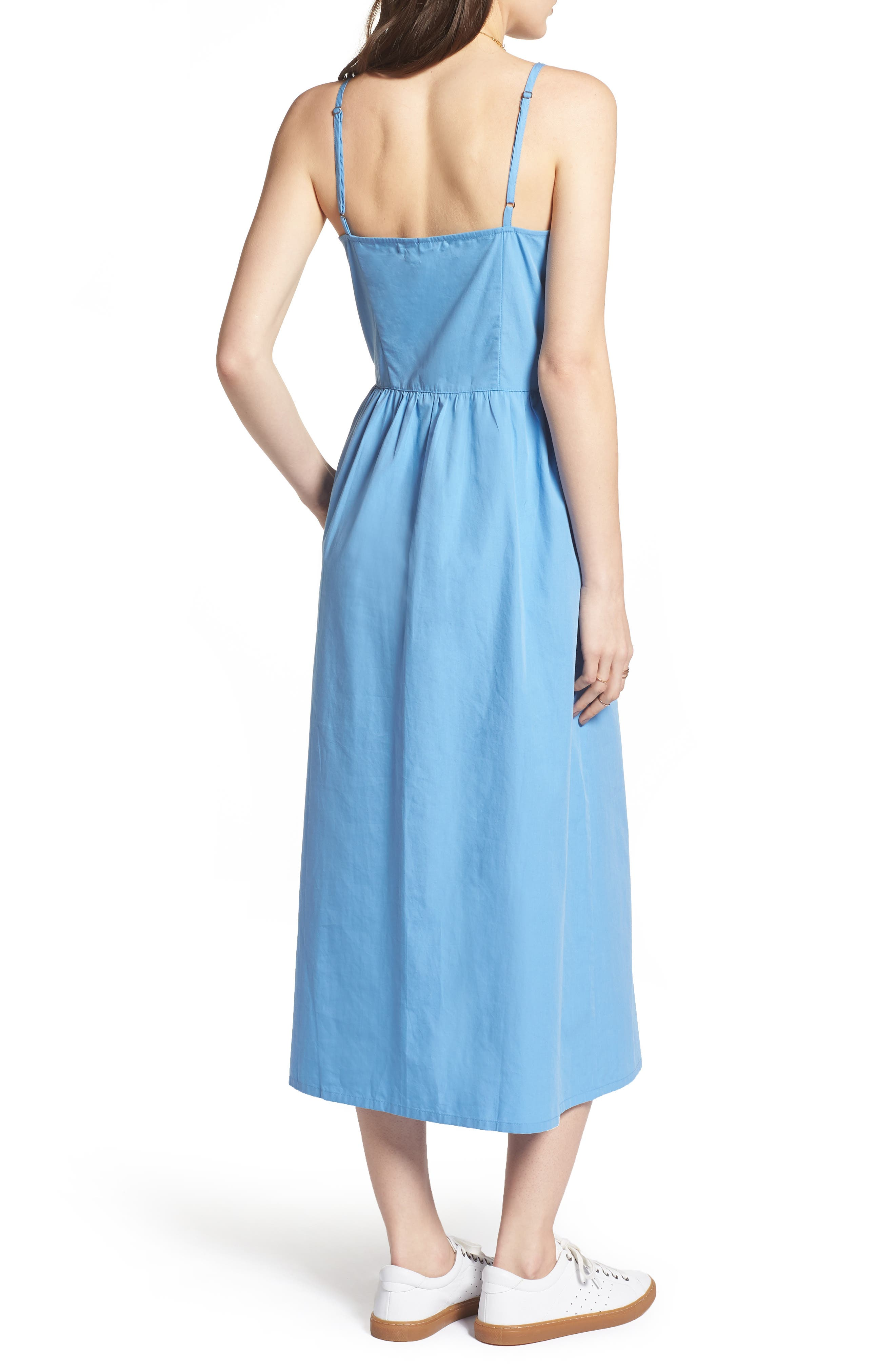Button Front Midi Dress,                             Alternate thumbnail 4, color,