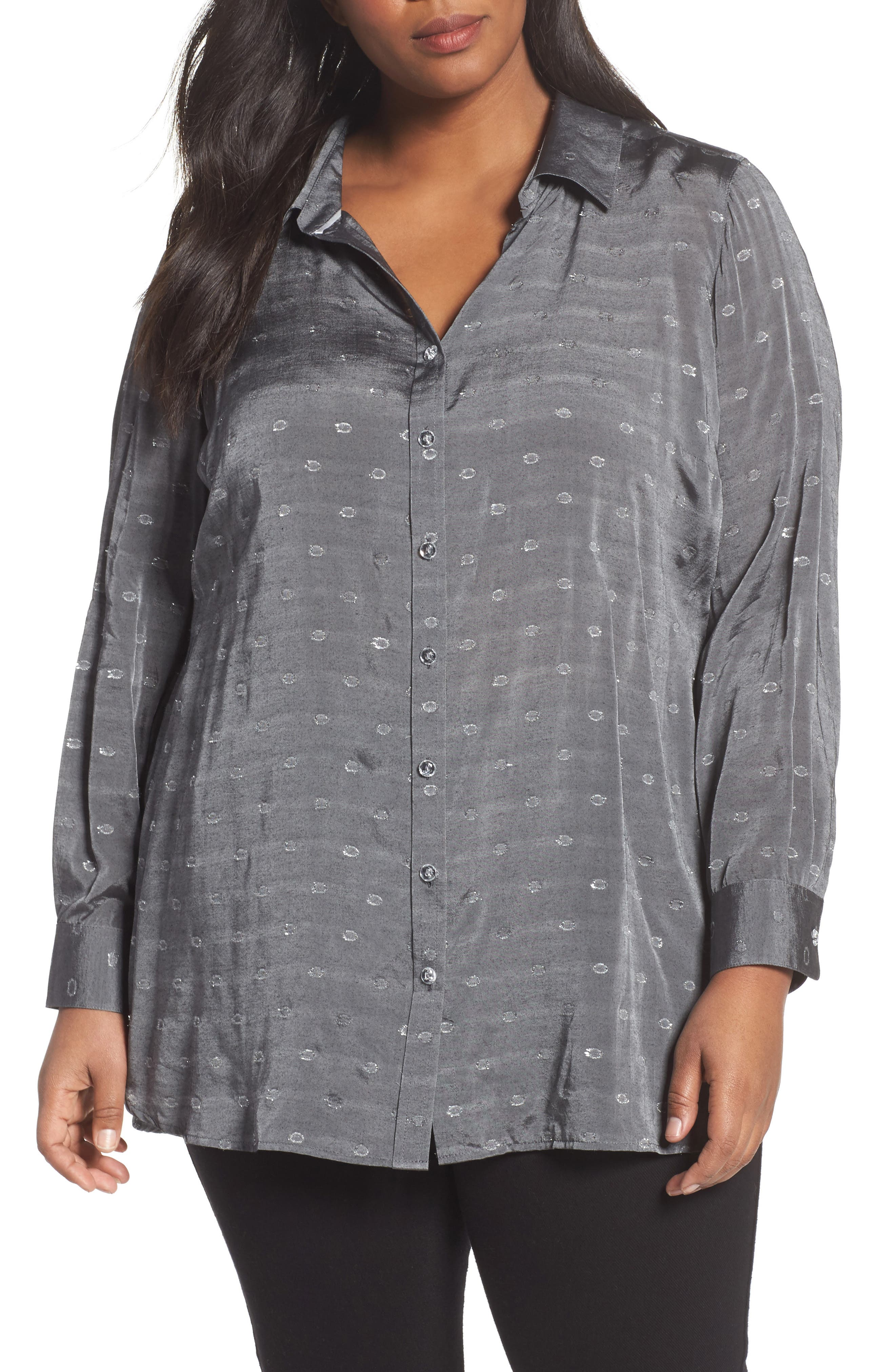 Jade Metallic Clip Dot Shirt,                             Main thumbnail 1, color,                             037