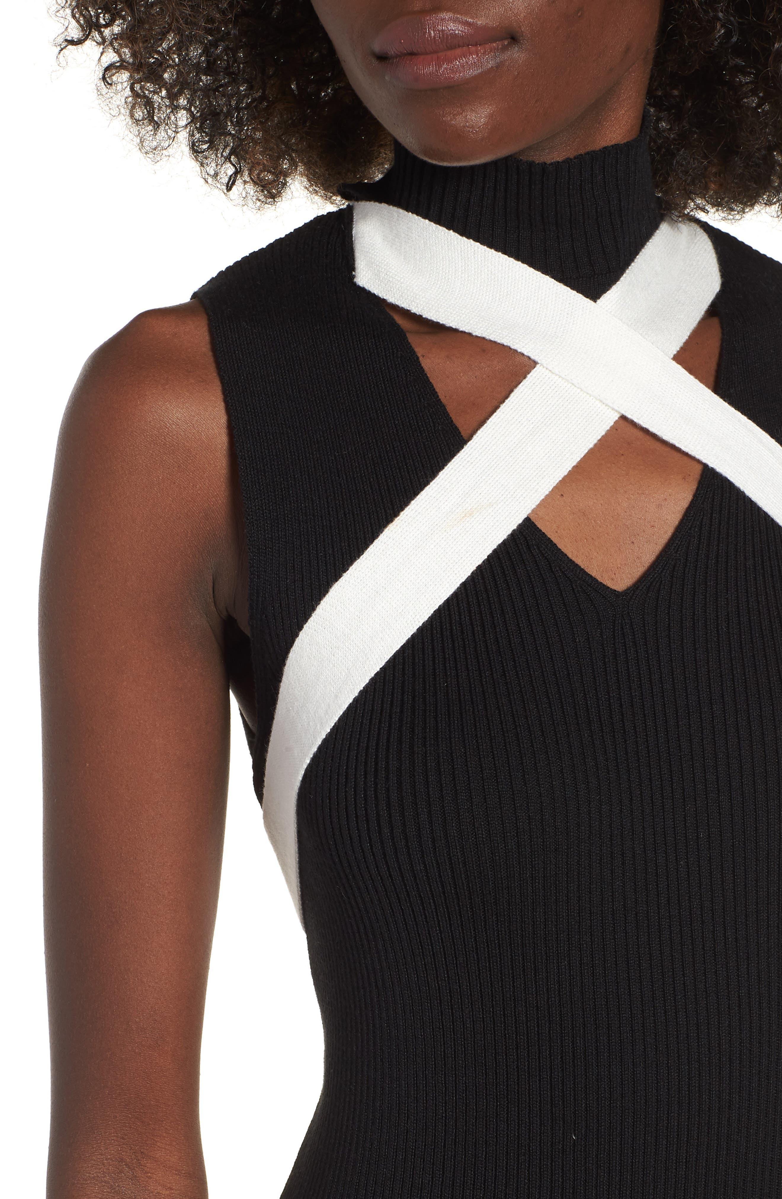 Crisscross Body-Con Dress,                             Alternate thumbnail 4, color,                             001