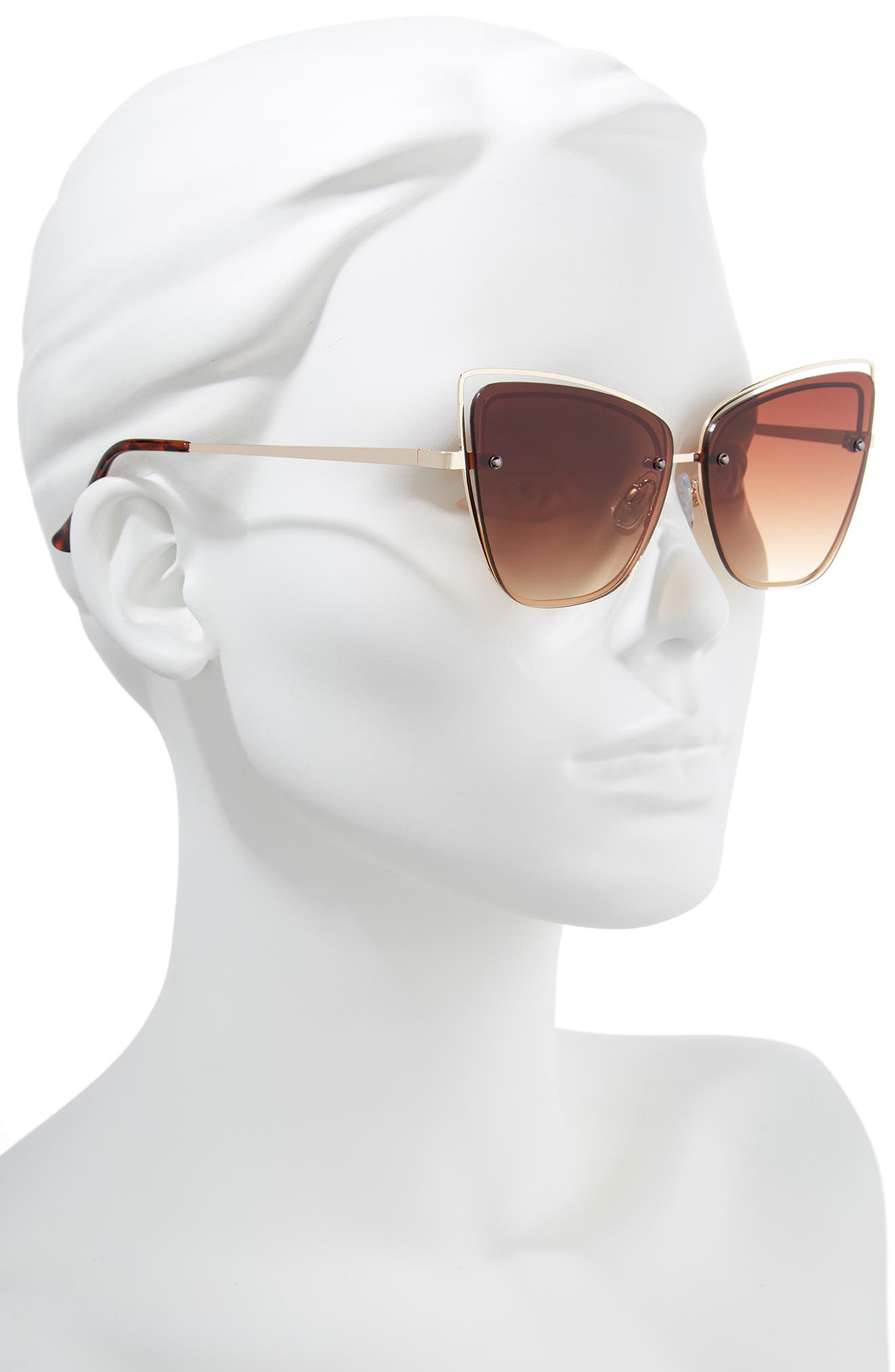 Dainty 53mm Rimless Cat Eye Sunglasses,                             Alternate thumbnail 2, color,                             GOLD/ BROWN