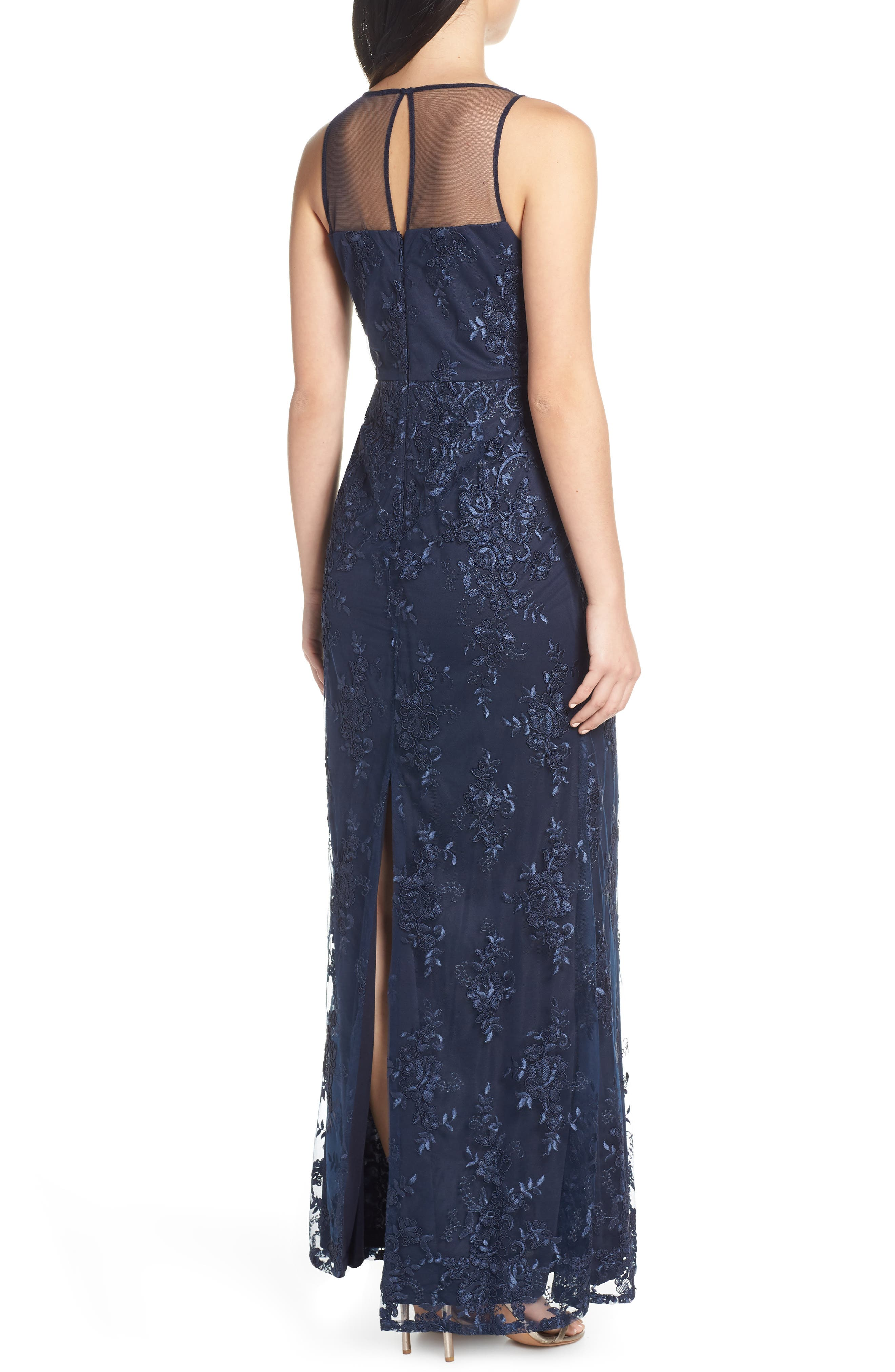 ADRIANNA PAPELL,                             Corded Lace Evening Dress,                             Alternate thumbnail 2, color,                             MIDNIGHT