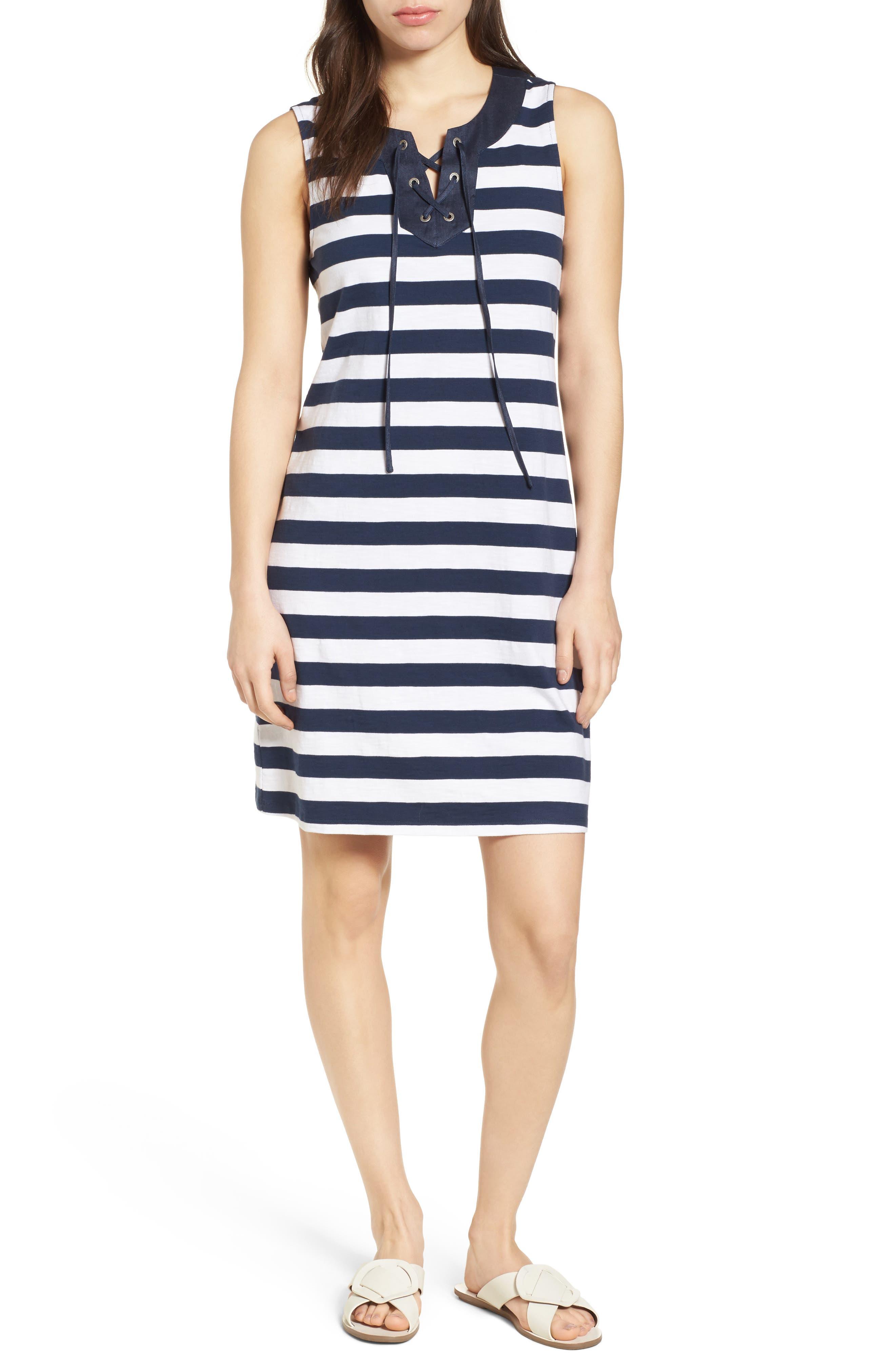 Stripe Right Lace-Up Stretch Cotton Dress,                             Main thumbnail 1, color,                             OCEAN DEEP