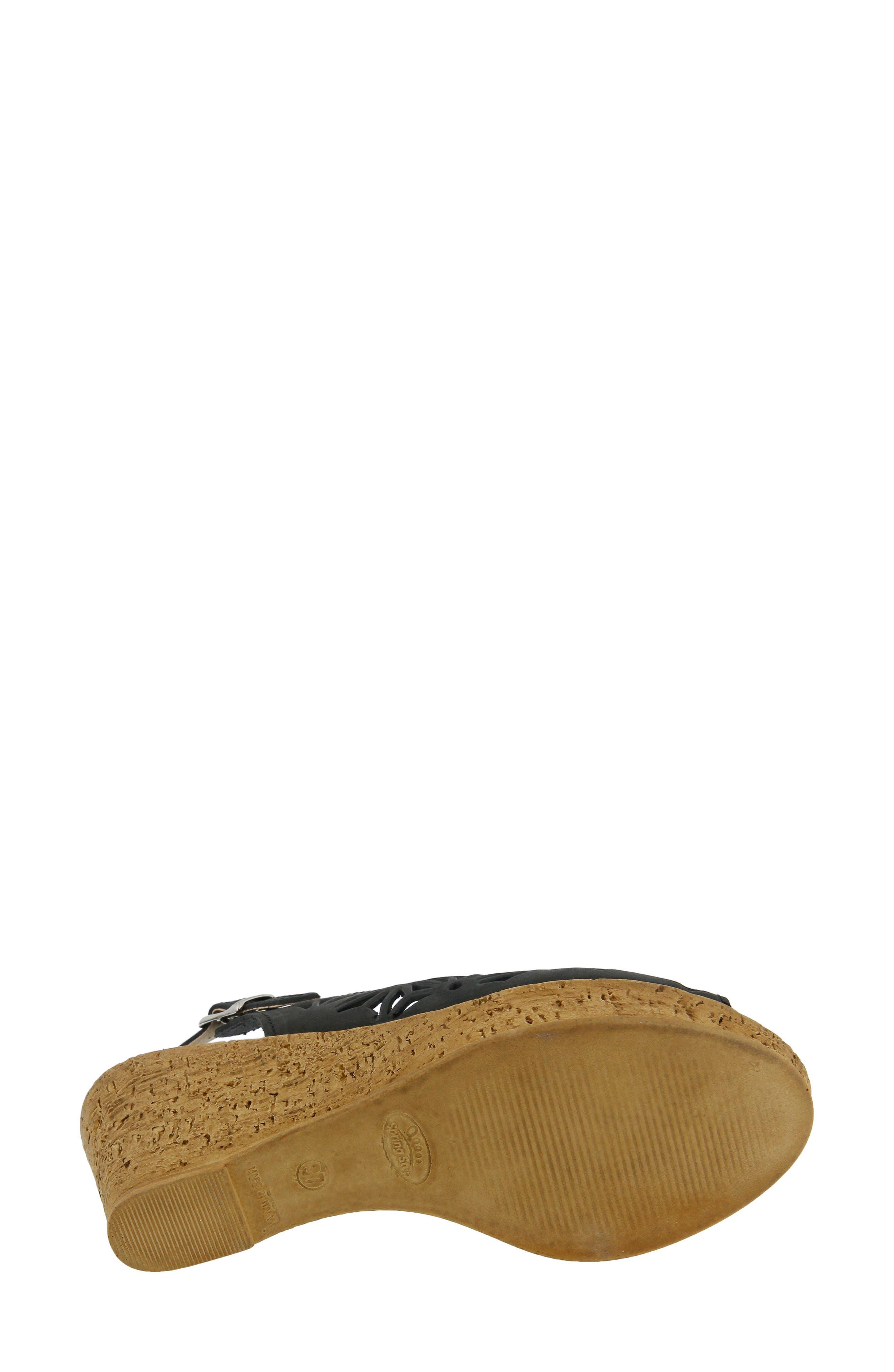 SPRING STEP,                             Abigail Platform Wedge Sandal,                             Alternate thumbnail 4, color,                             BLACK LEATHER