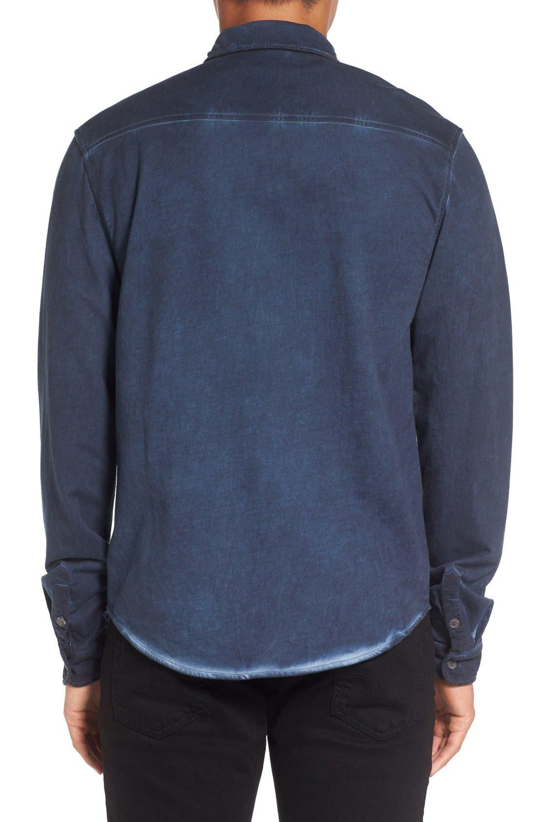 Slim Fit Garment Washed Sport Shirt,                             Alternate thumbnail 4, color,