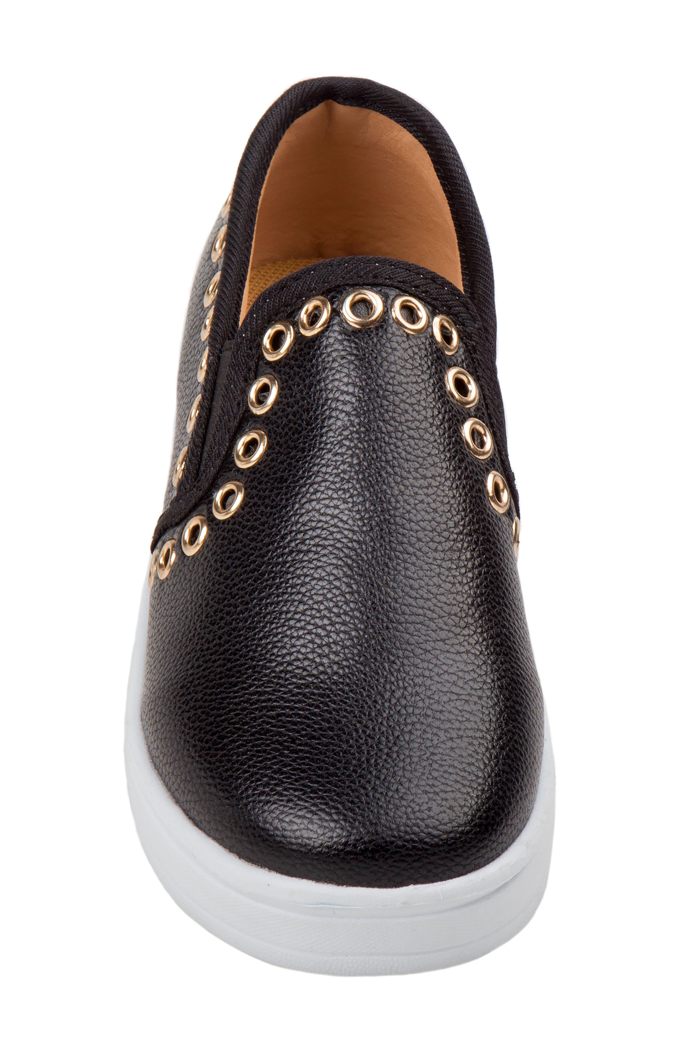 Grommeted Slip-On Sneaker,                             Alternate thumbnail 3, color,                             BLACK